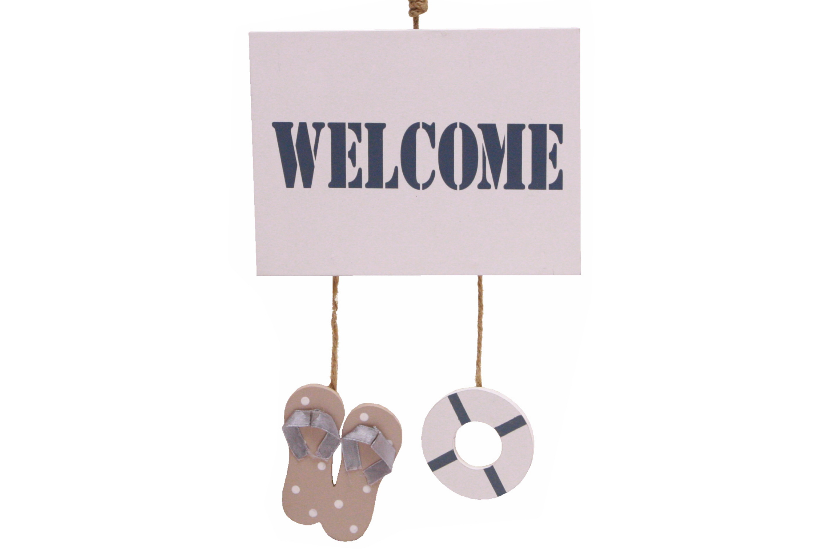 Hanging Welcome Sign With Flip Flop & Life Ring 20x40cm