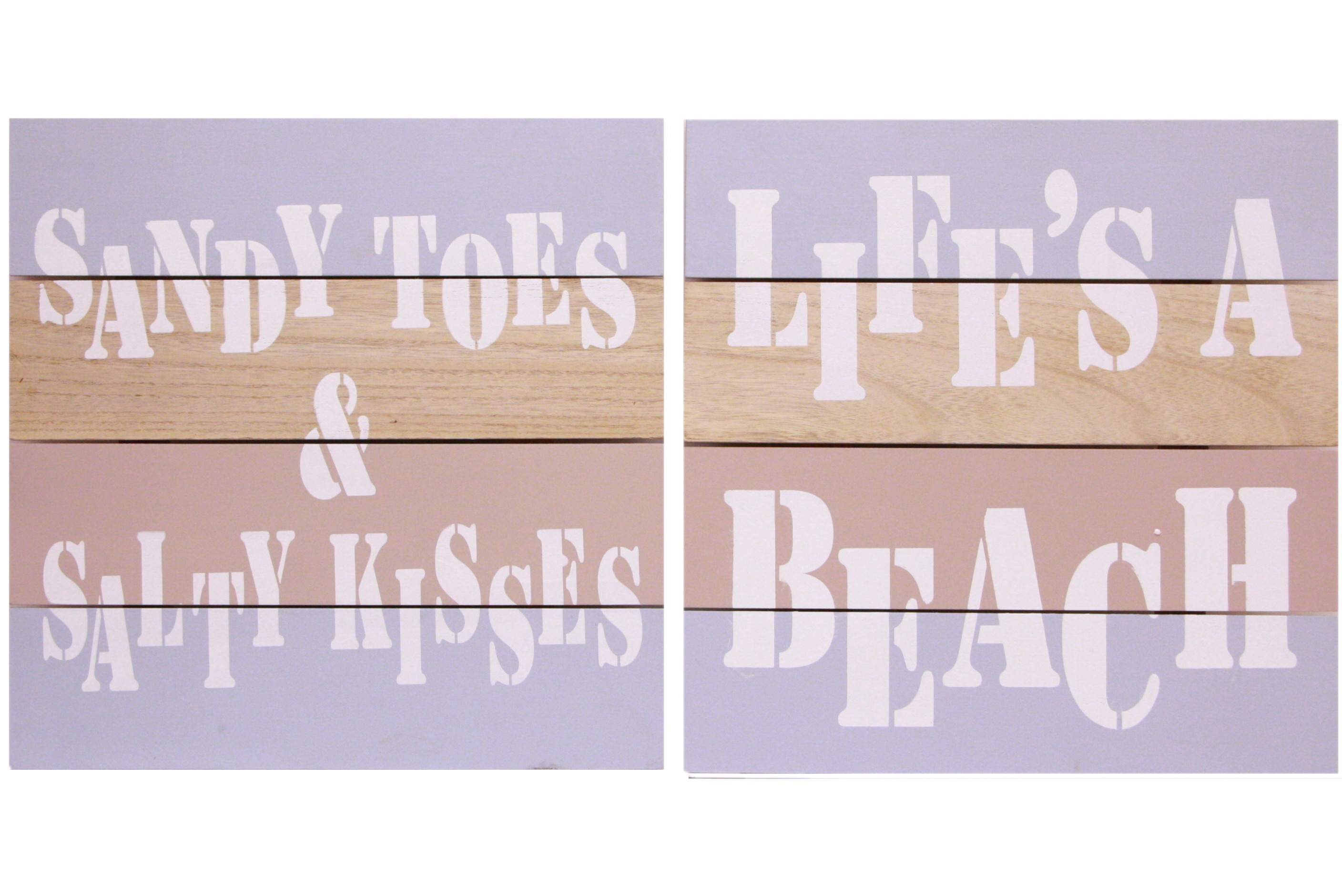 4 Piece Wood Sign 40 x 40cm 2 Assorted