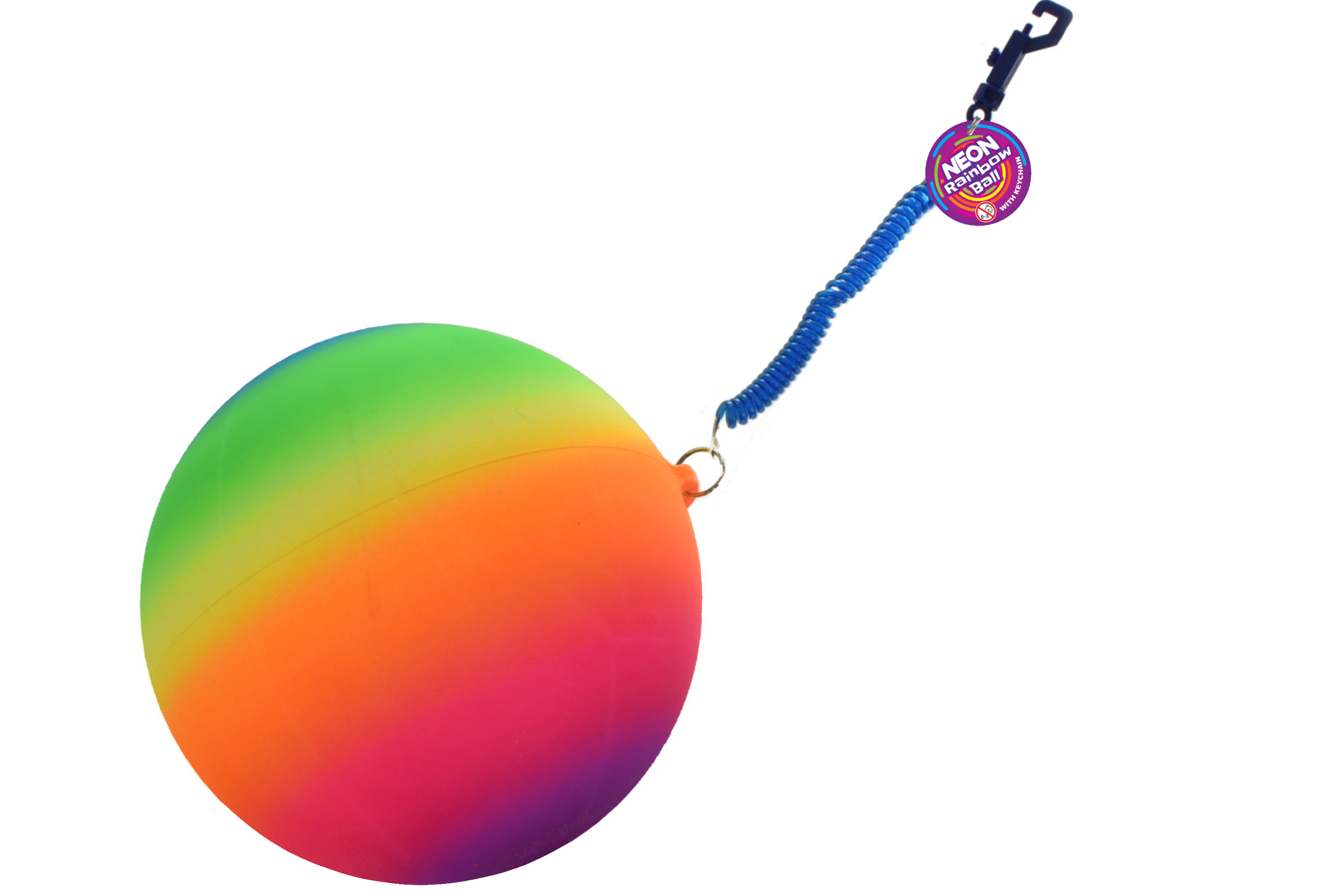 "10"" 100gm Neon Rainbow Ball With Keychain"