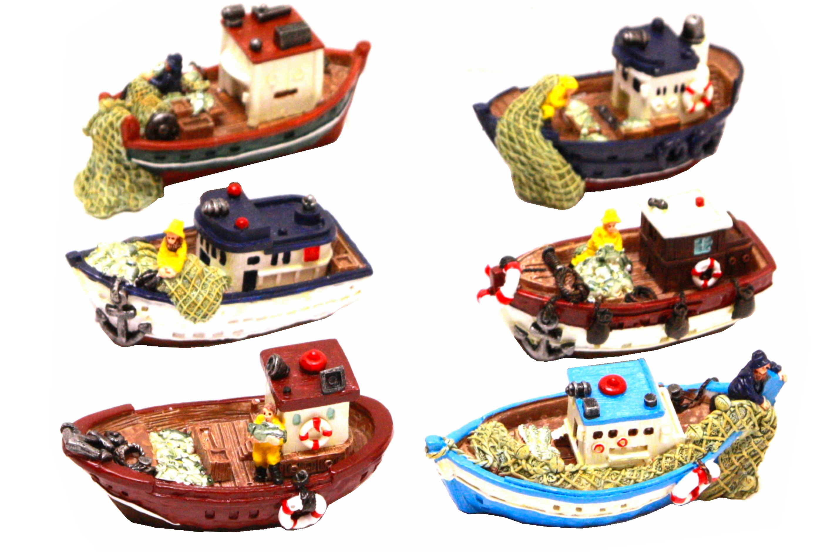 10cm Resin Fishing Boat 6 Assorted