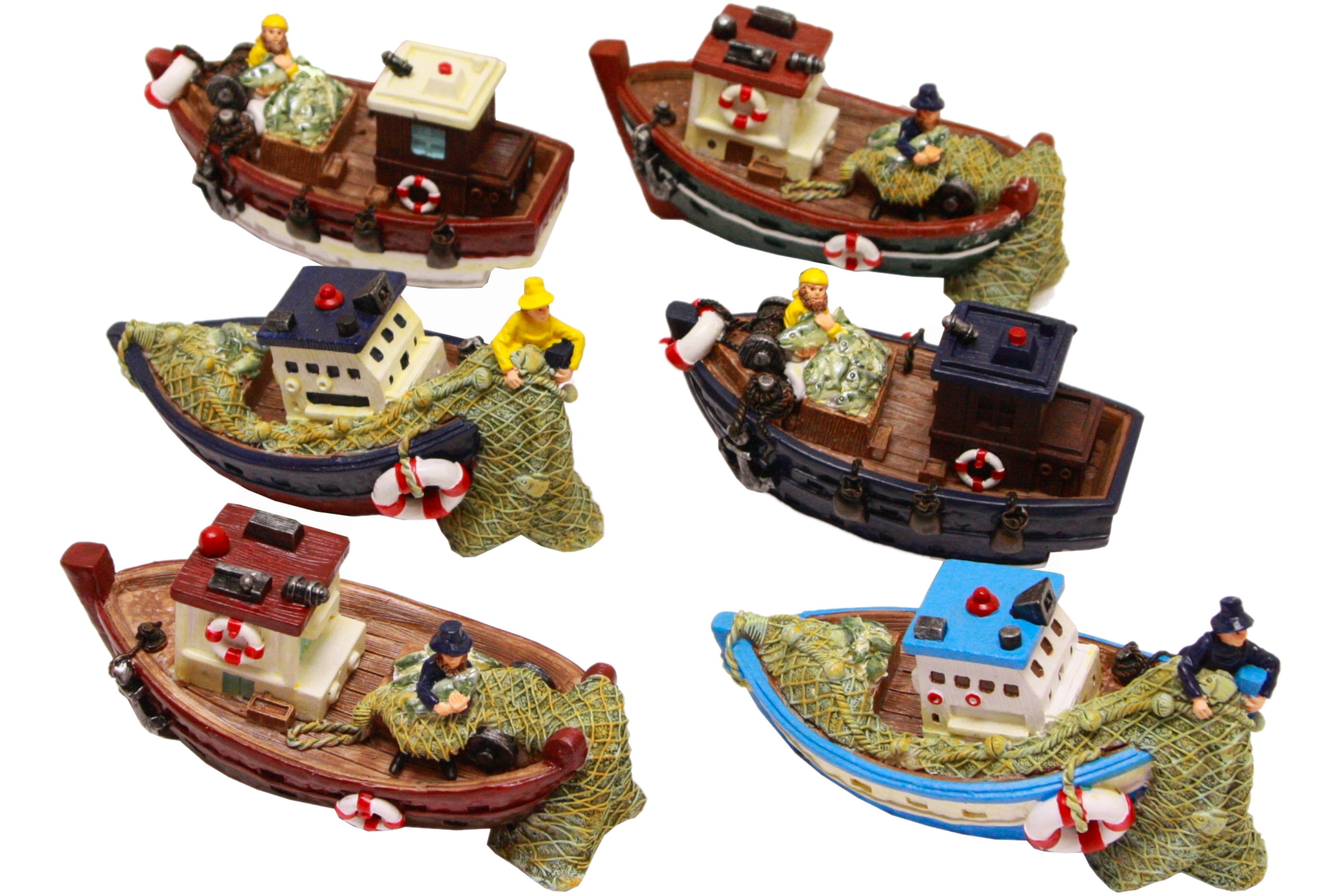 15cm Resin Fishing Boat 6 Assorted