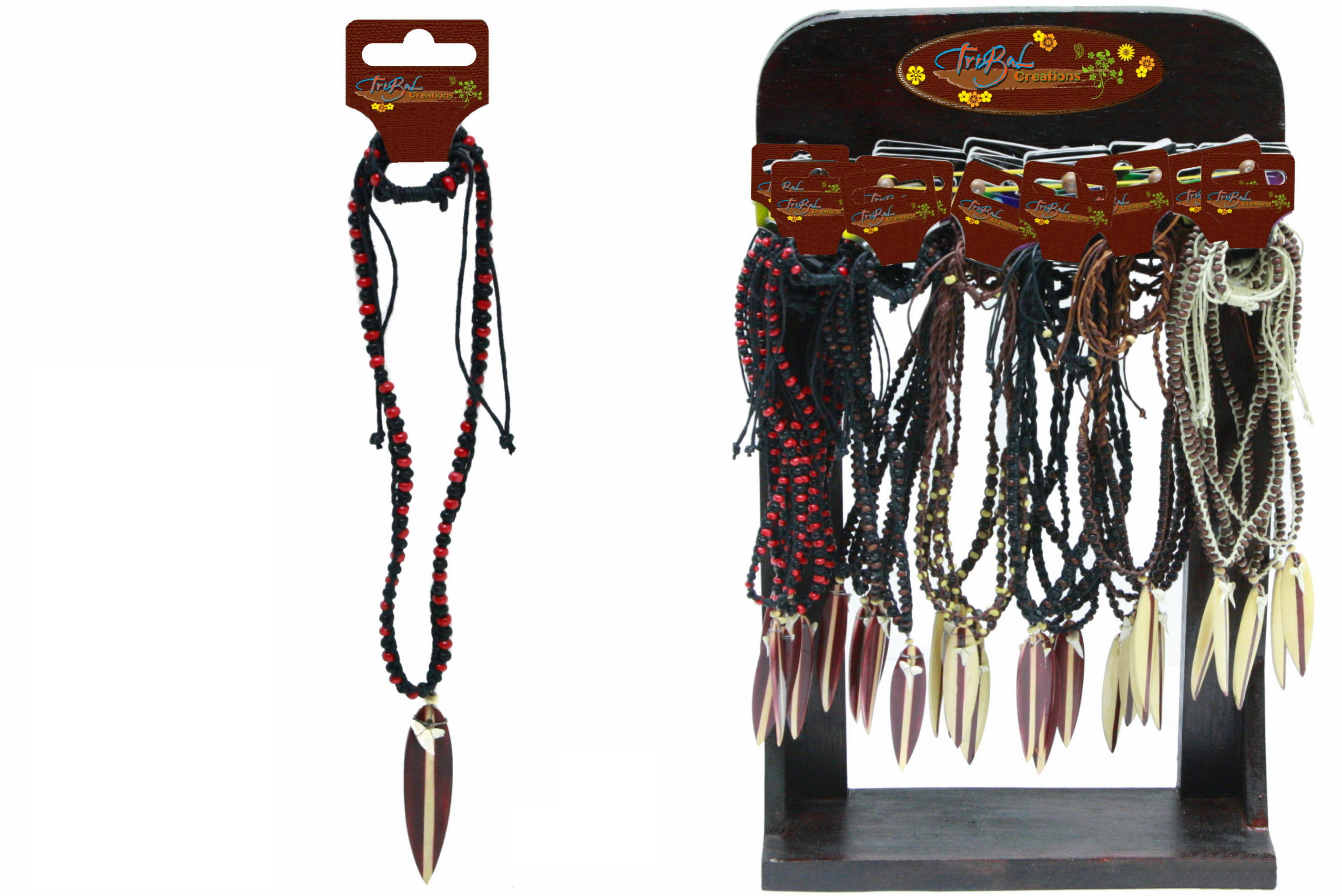Beaded Necklace With Wood Surfboard On Display Stand