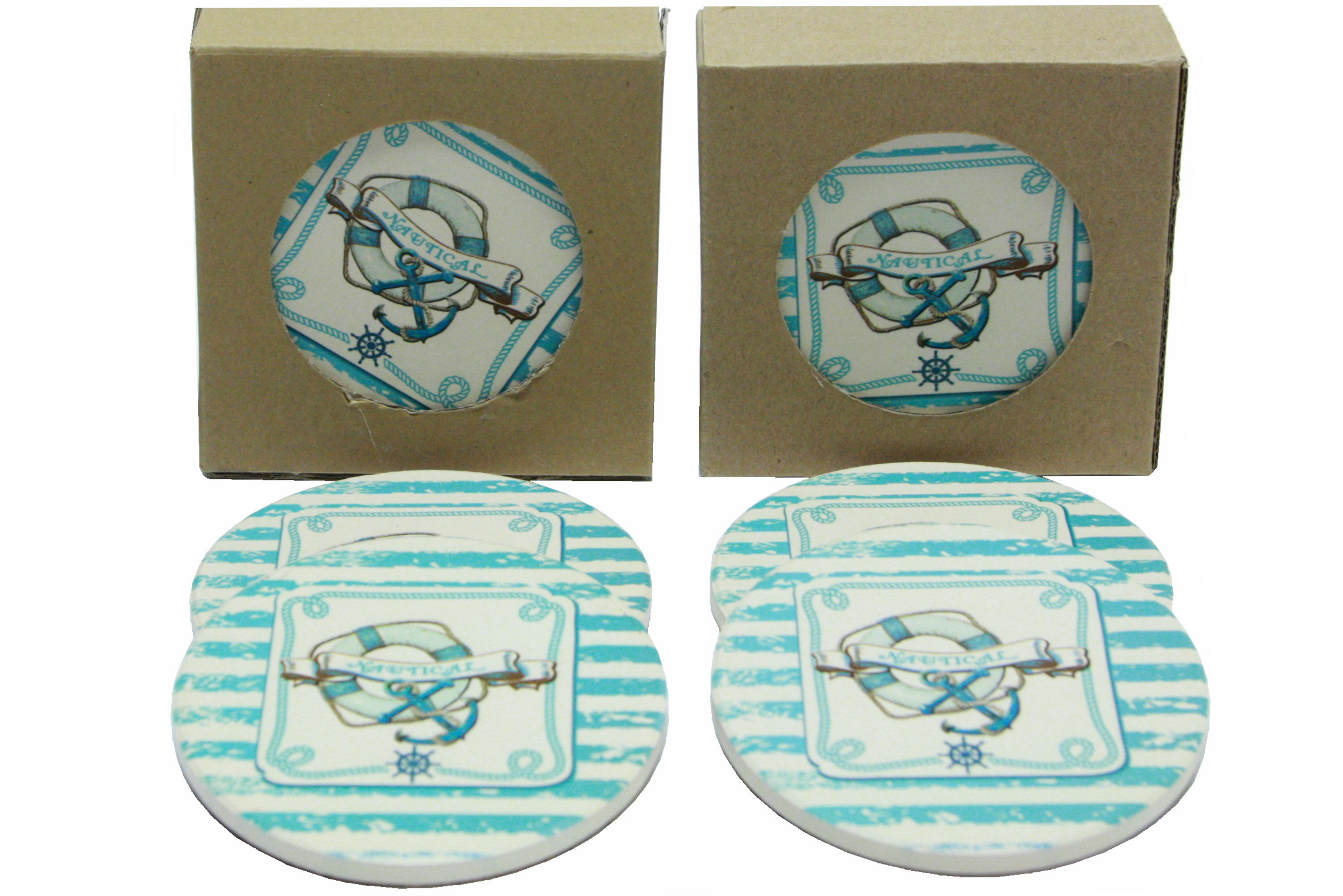Nautical Design Coasters Set Of 4 In Window Gift Box