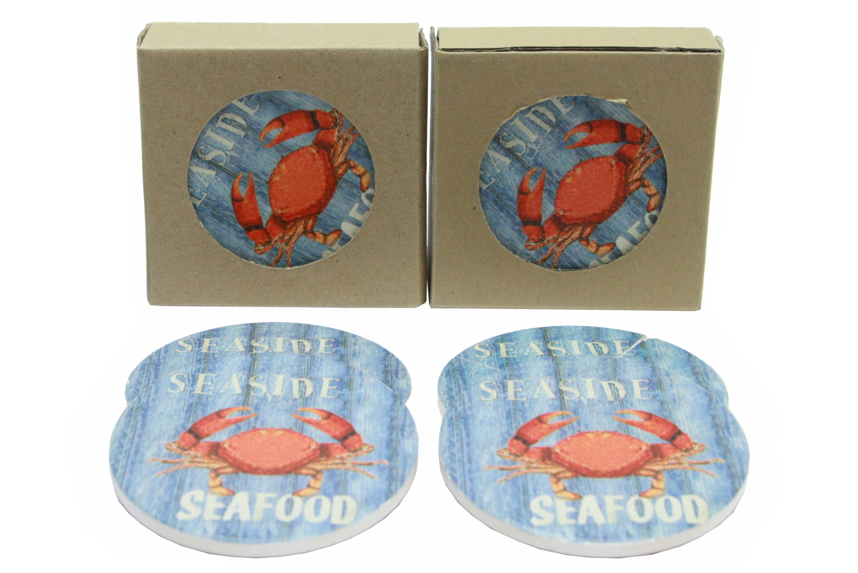 Crab Design Coasters Set Of 4 In Window Gift Box