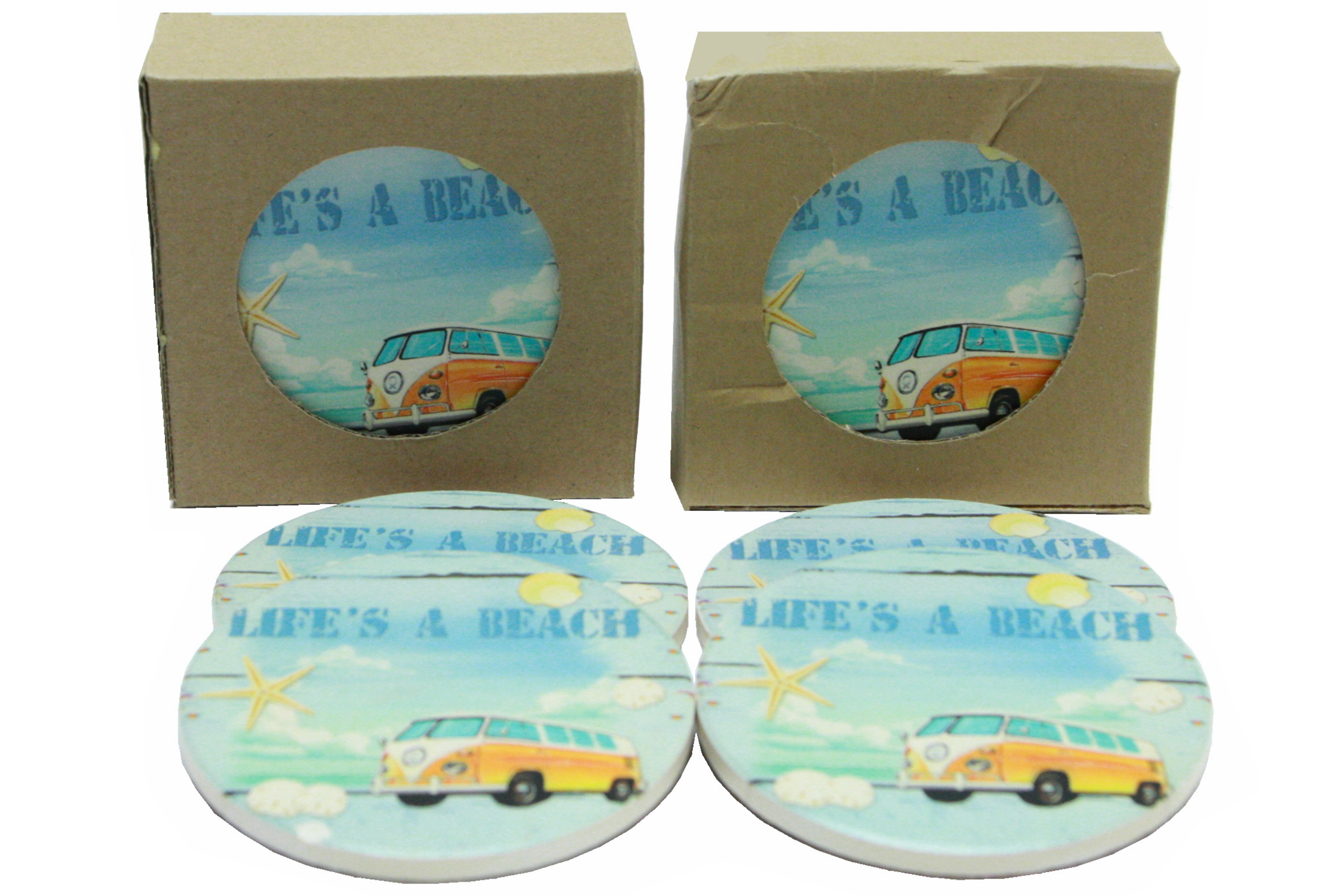 Surf Bus Design Coasters Set Of 4 In Window Gift Box