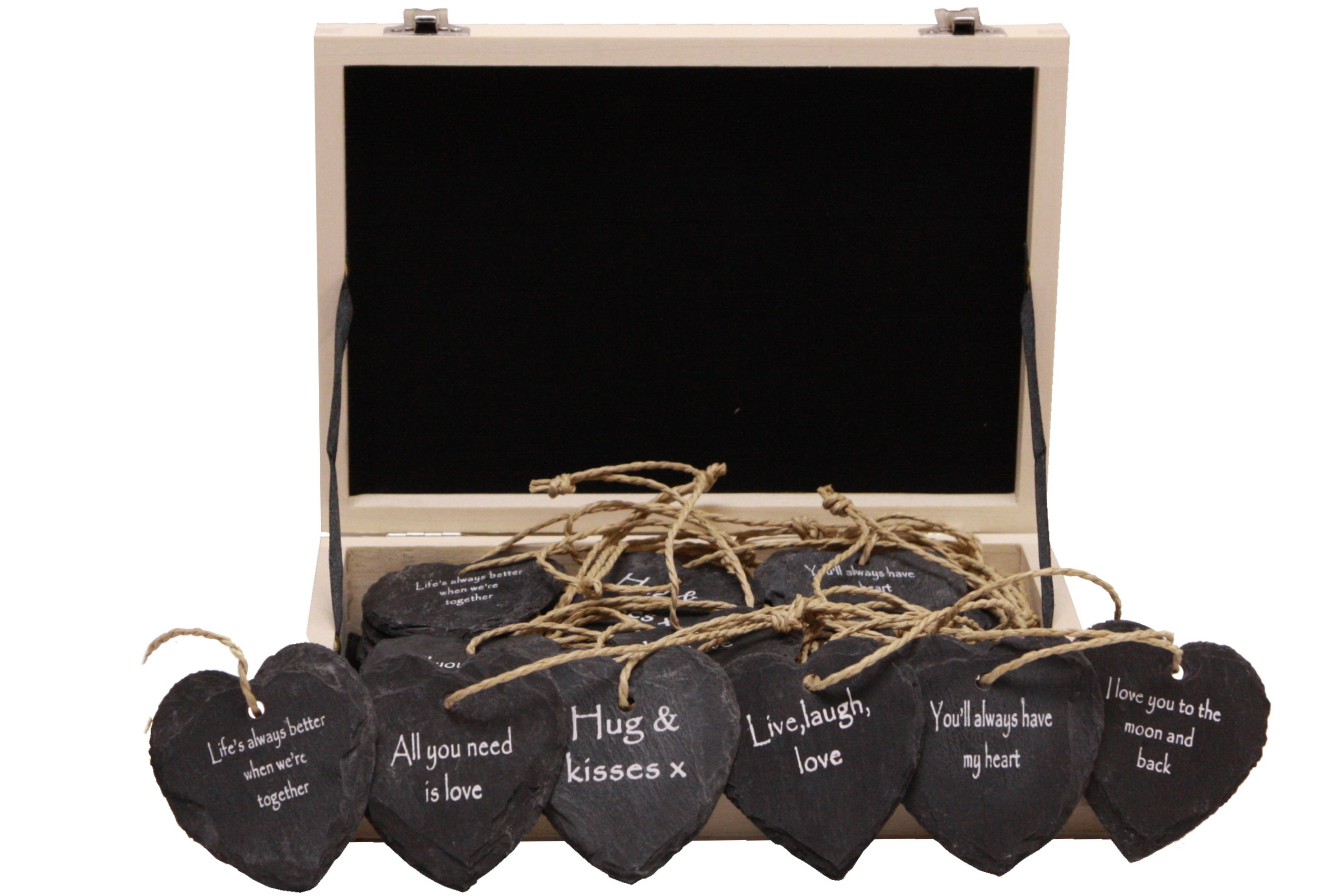 Slate Hanging Heart 7cm (6 Asst) In Wood Display Box