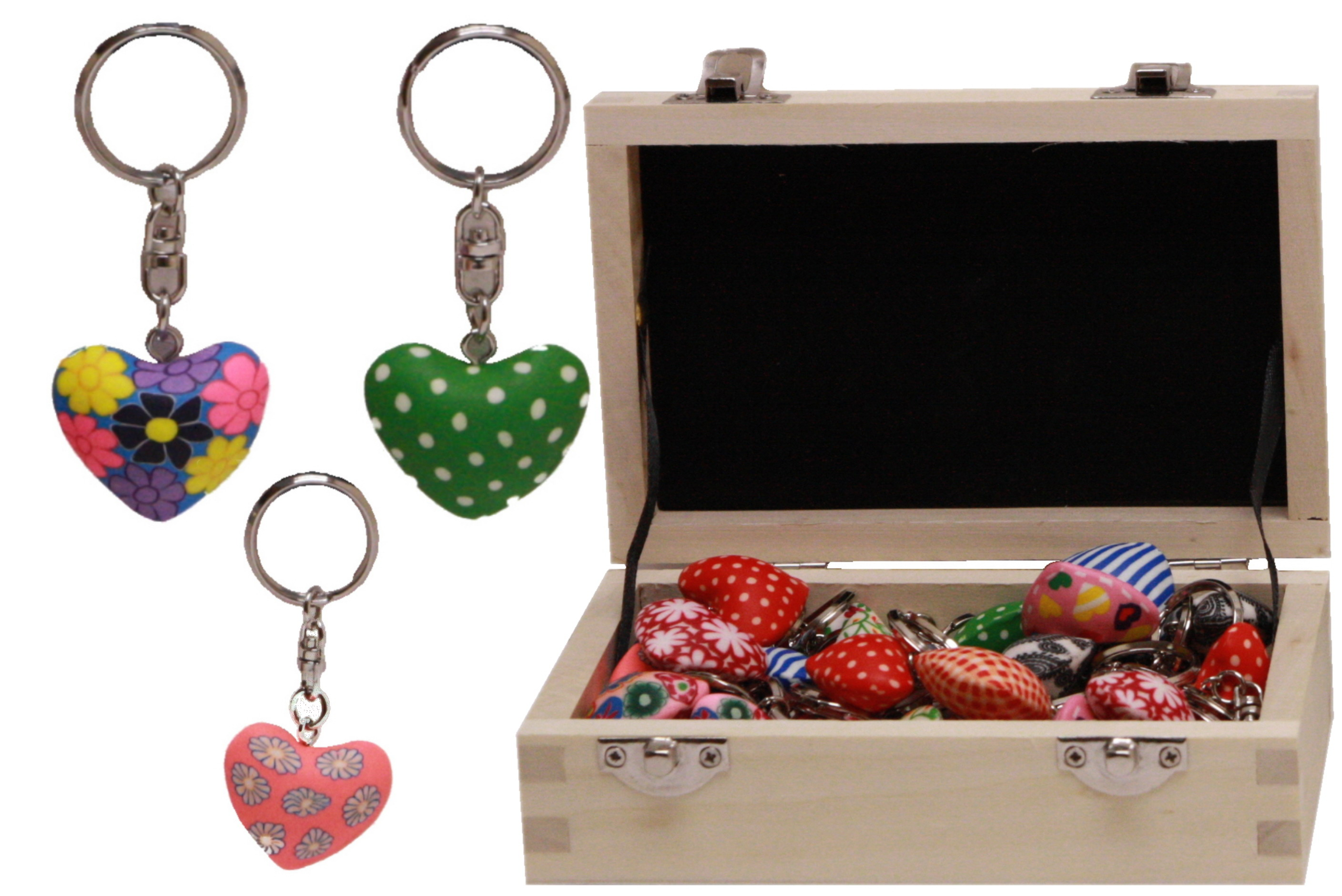 Fimo Heart Keyring 3cm (12 Asst) In Wood Display Box