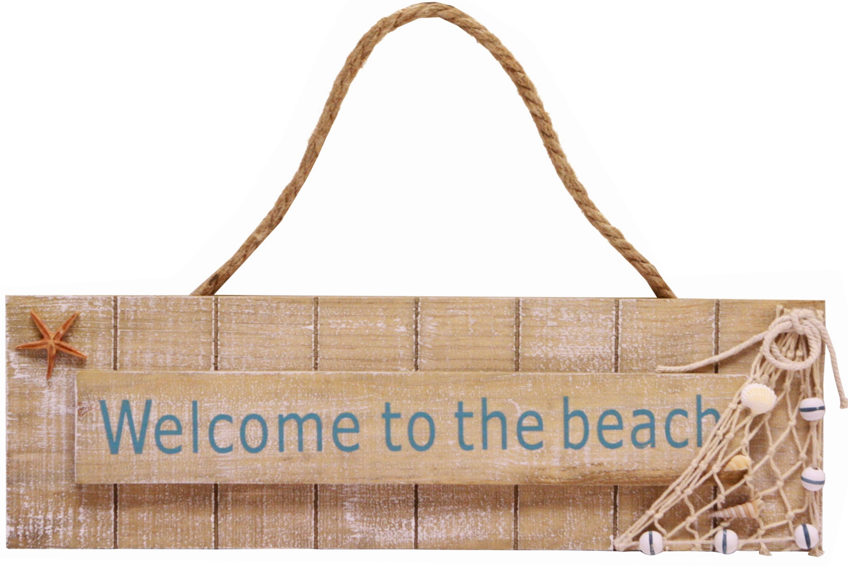 Welcome To The Beach Hanging Wood Sign