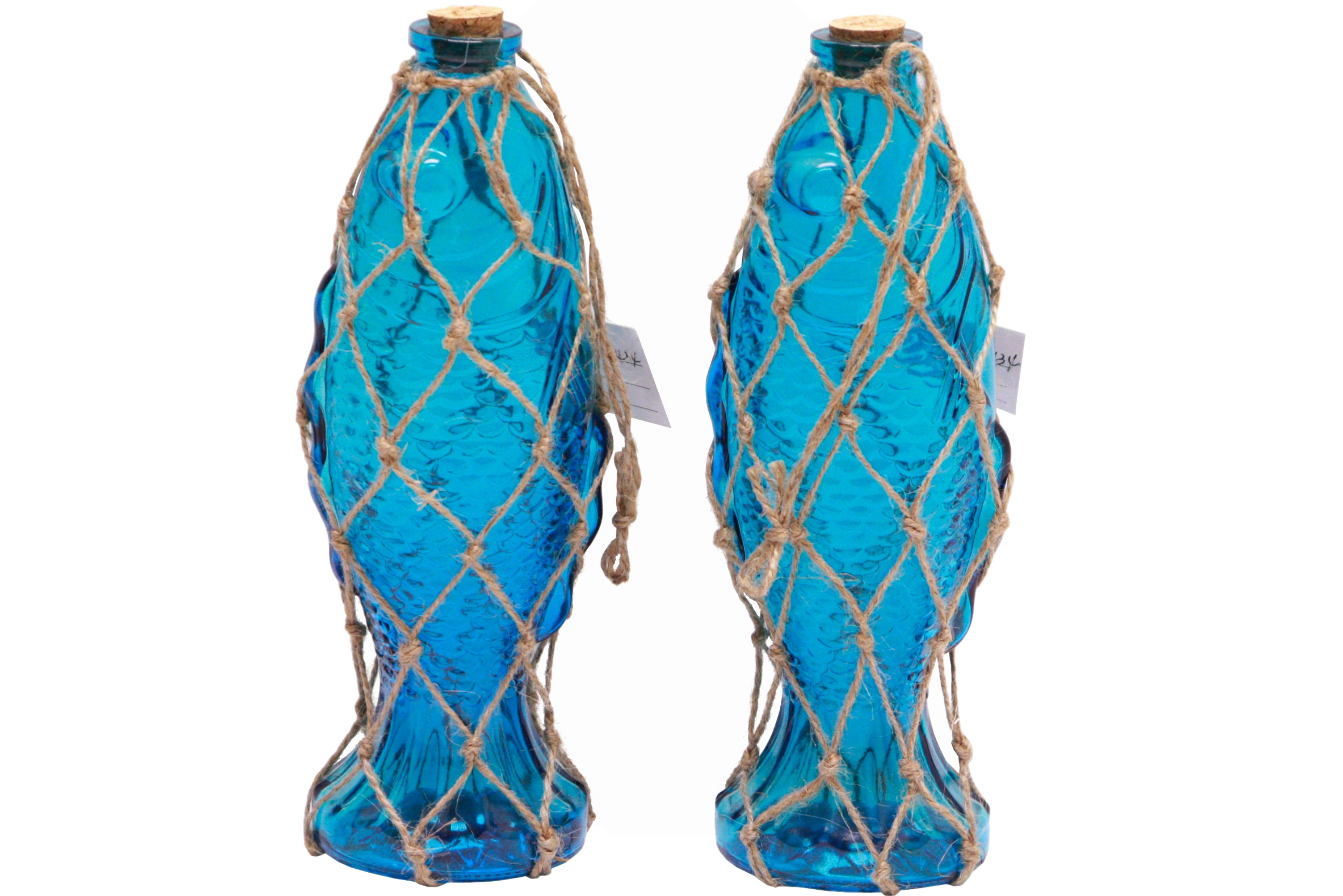 Fish Shape Glass Bottle In Netting With Cork