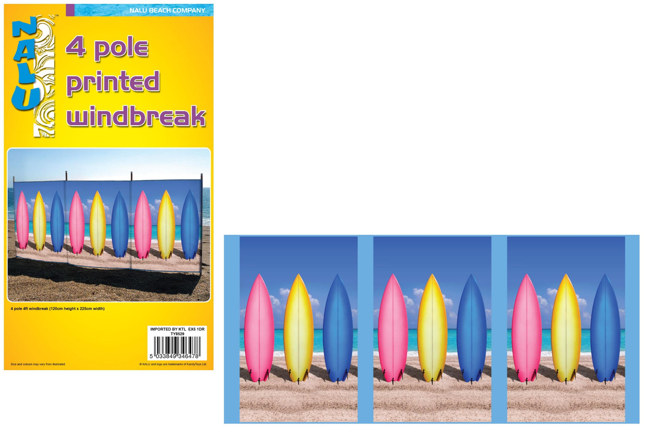 4 Pole 4' Printed Windbreak - Surf Boards Design