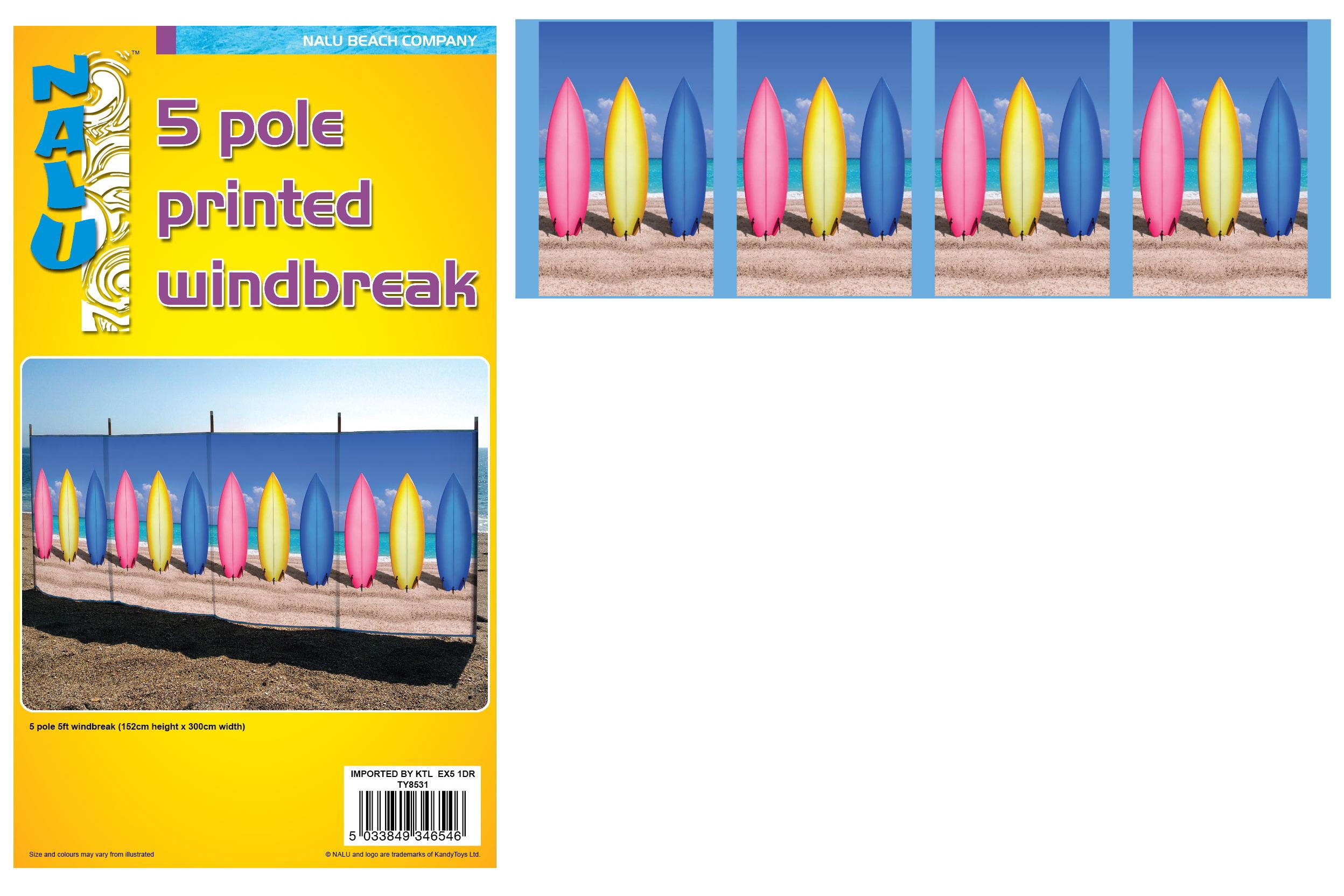 5 Pole 5' Printed Windbreak - Surf Boards Design