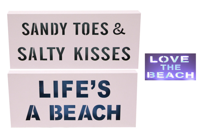 35cm Wooden Led Sign 3 Assorted Beach Design