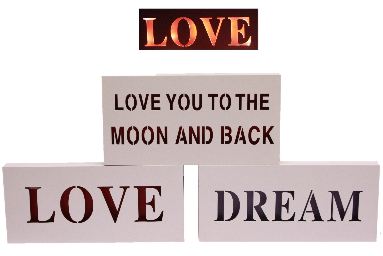 35cm Wooden Led Sign 3 Assorted Love Design