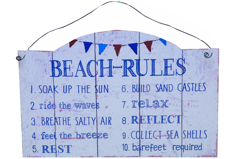 Beach Rules Metal Plaque