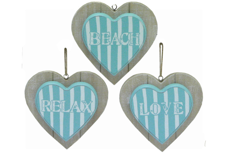 """Wooden Heart Hanger 12cm 3 Assorted """"Beach Days"""""""