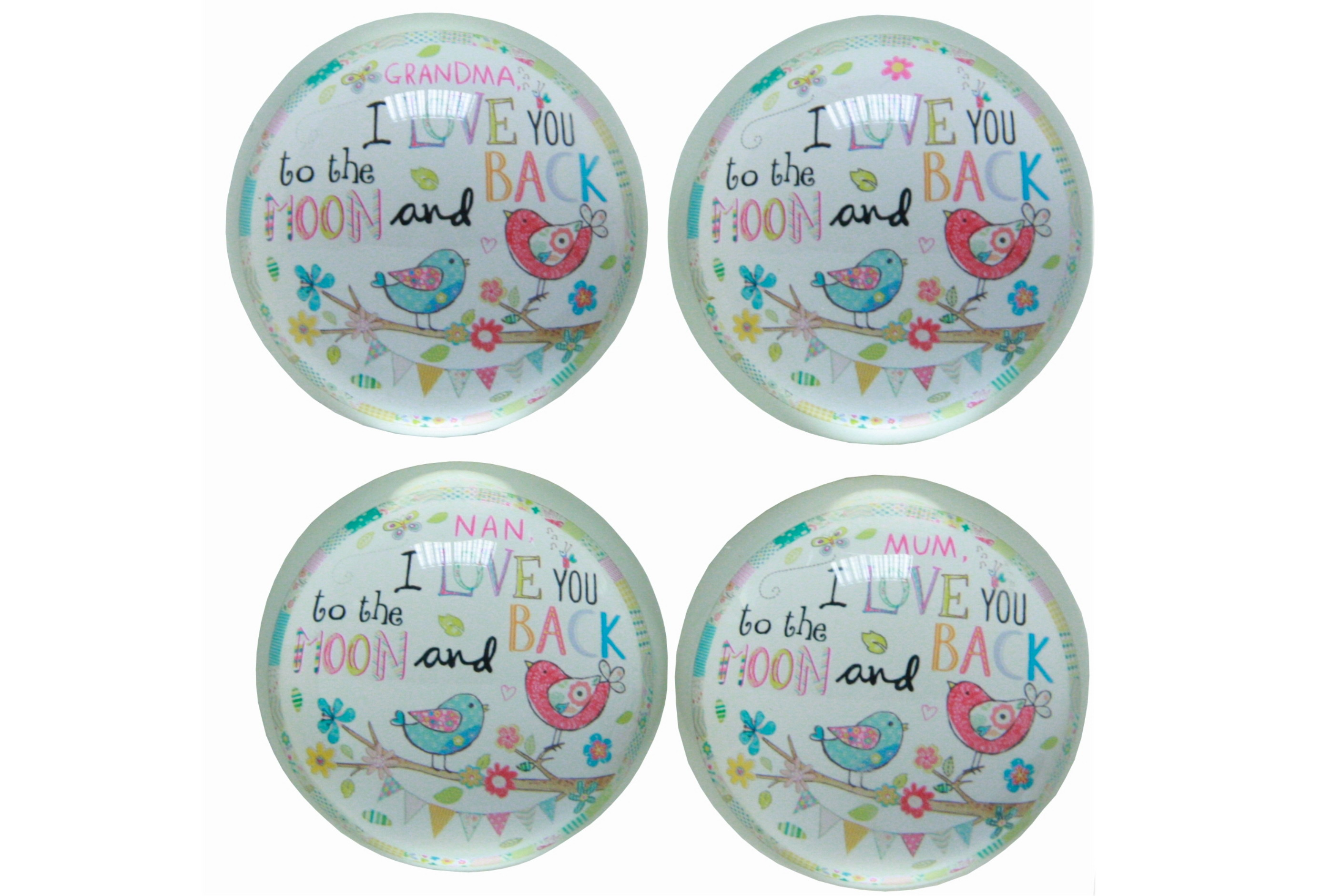 "Glass Paperweight 4 Assorted ""Moon And Back"""