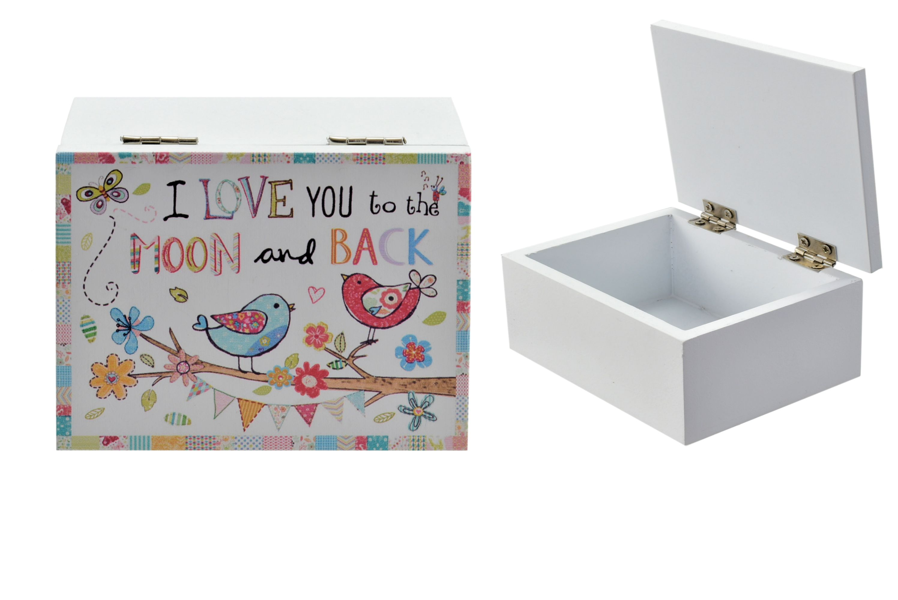 "Wooden Box With Lid ""I Love You To The Moon And Back"""