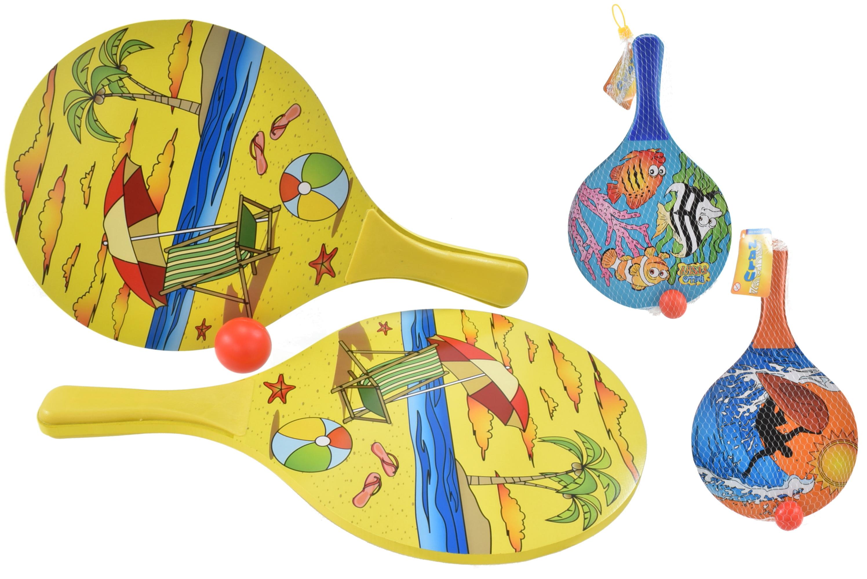 """Neon Wooden Beach Bats & Ball - 3 Assorted - """"Nalu"""""""