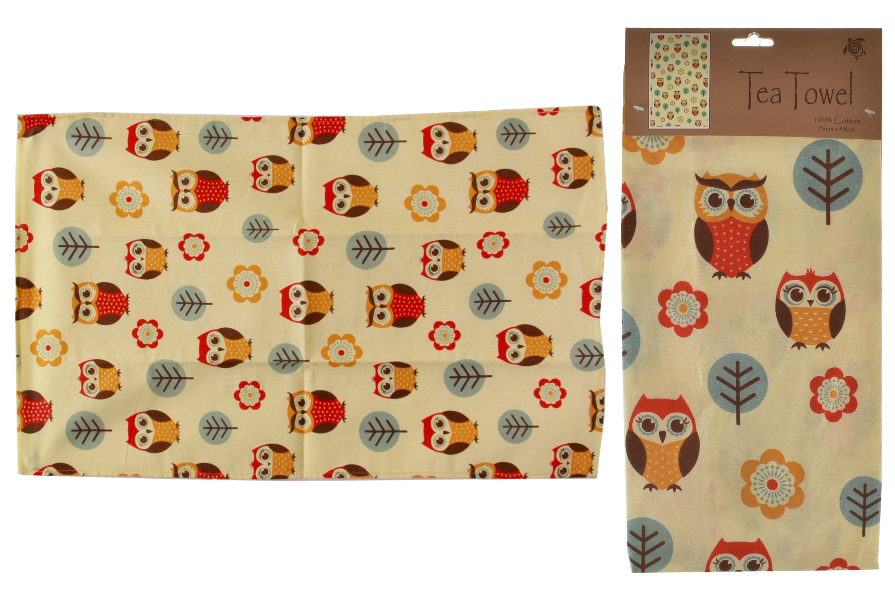 Owl Design Tea Towel 76cm x 48cm