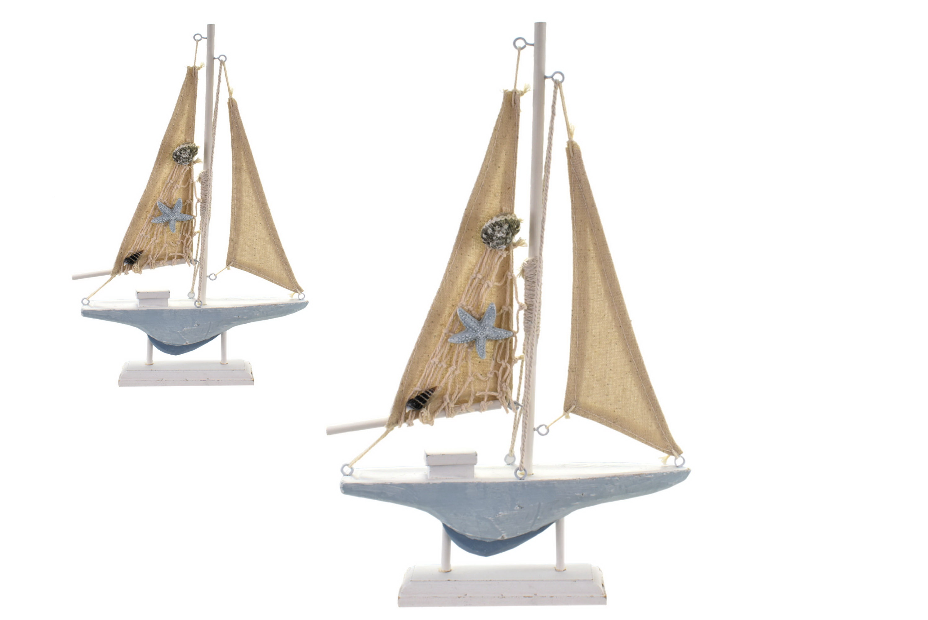 31cm Wooden Sailing Boat On Stand