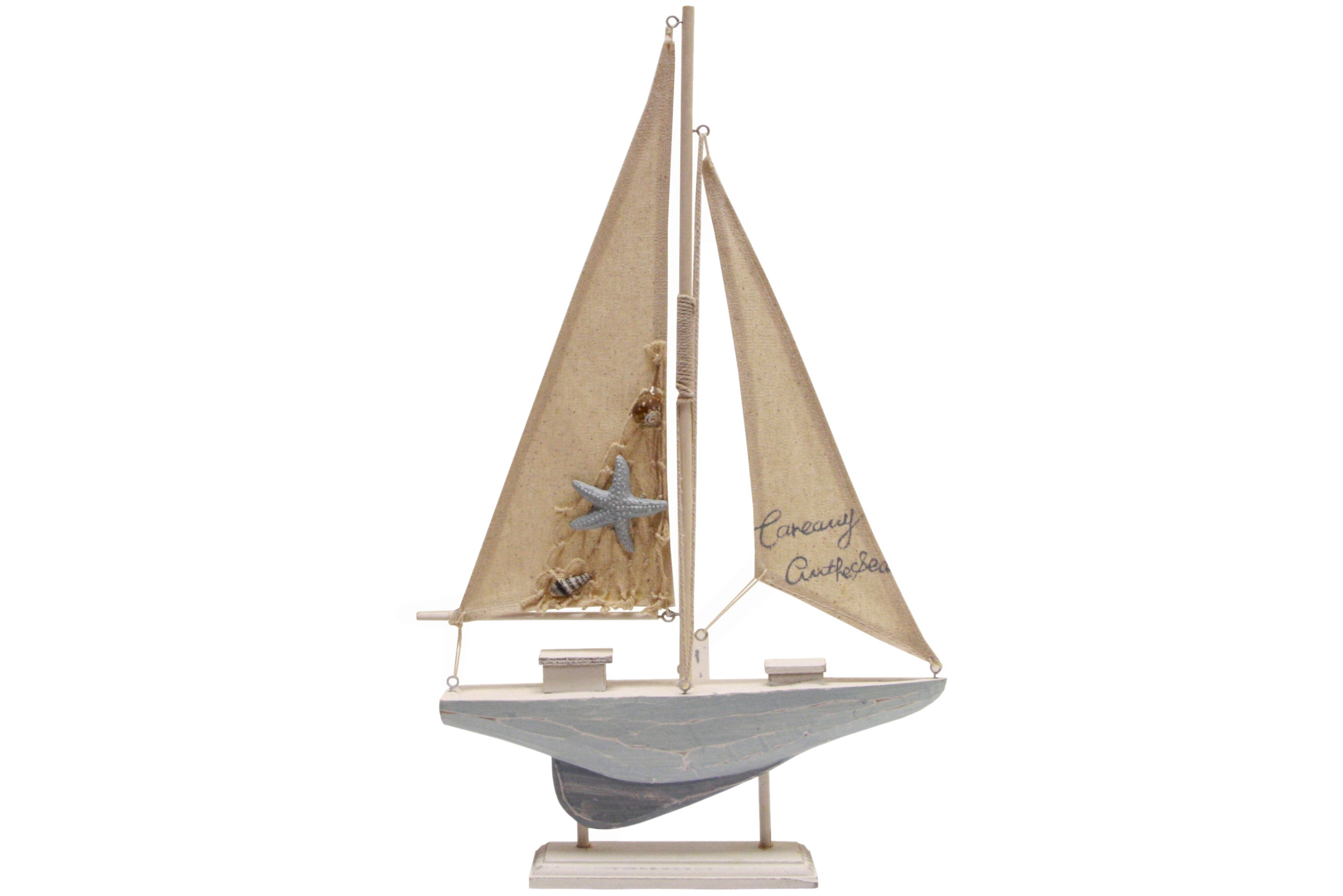 43cm Wooden Sailing Boat On Stand