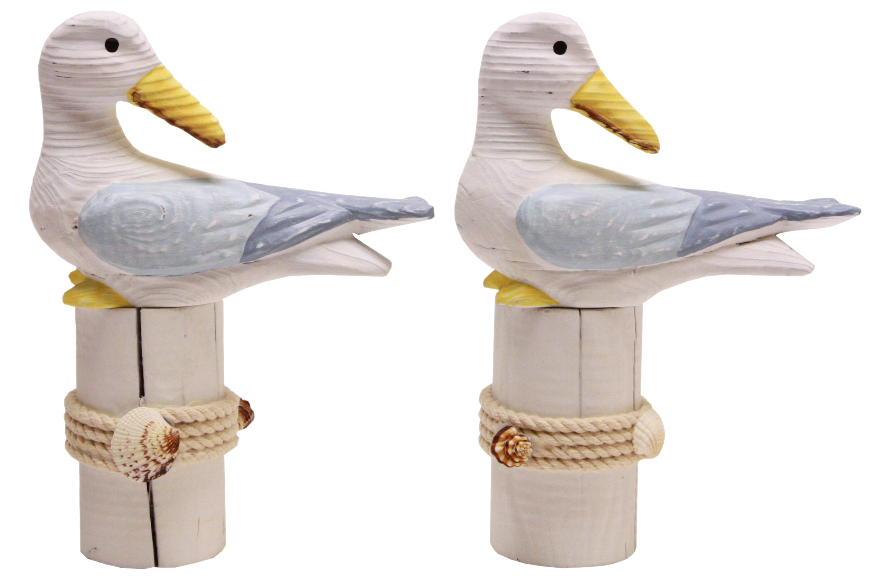 22cm Wooden Seagull On Post 2 Assorted