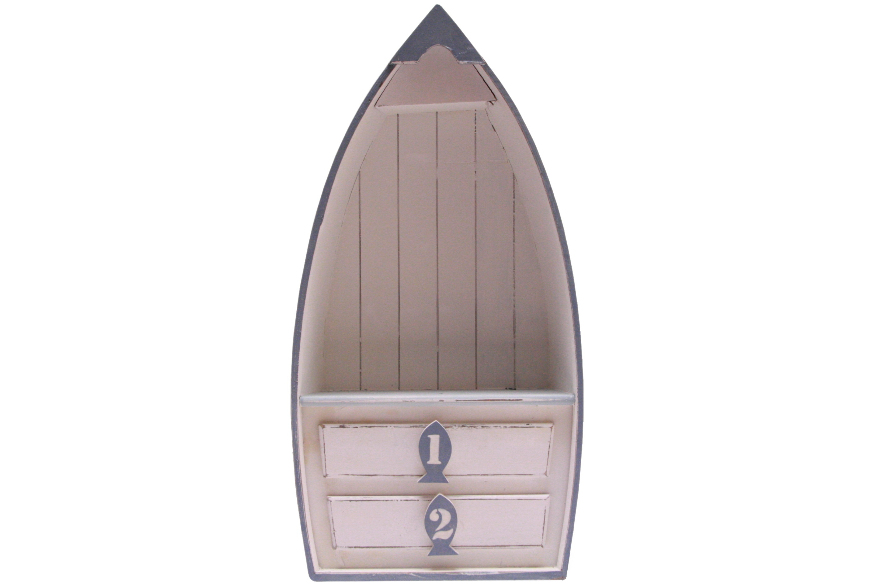 Wooden Display Boat With 2 Drawers 69cm