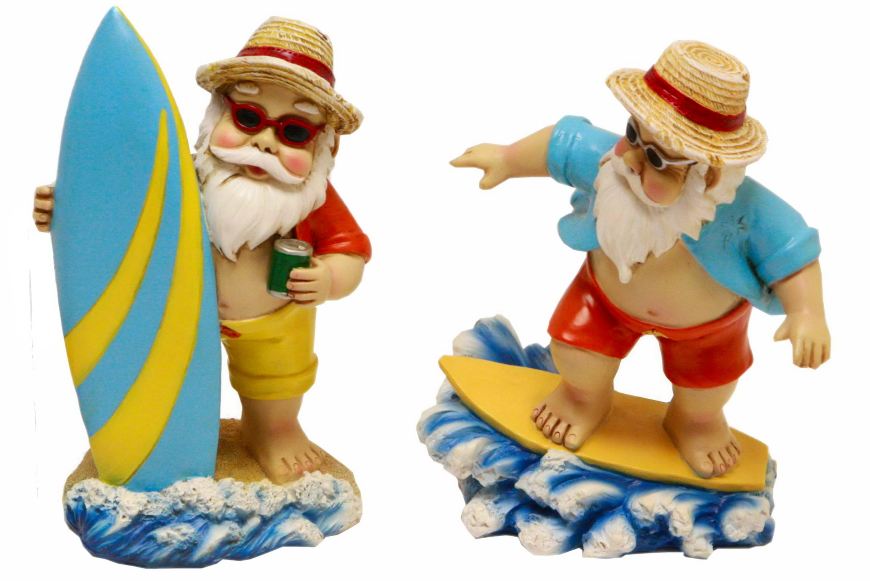 20cm Polyresin Surfing Gnome 2 Assorted Designs