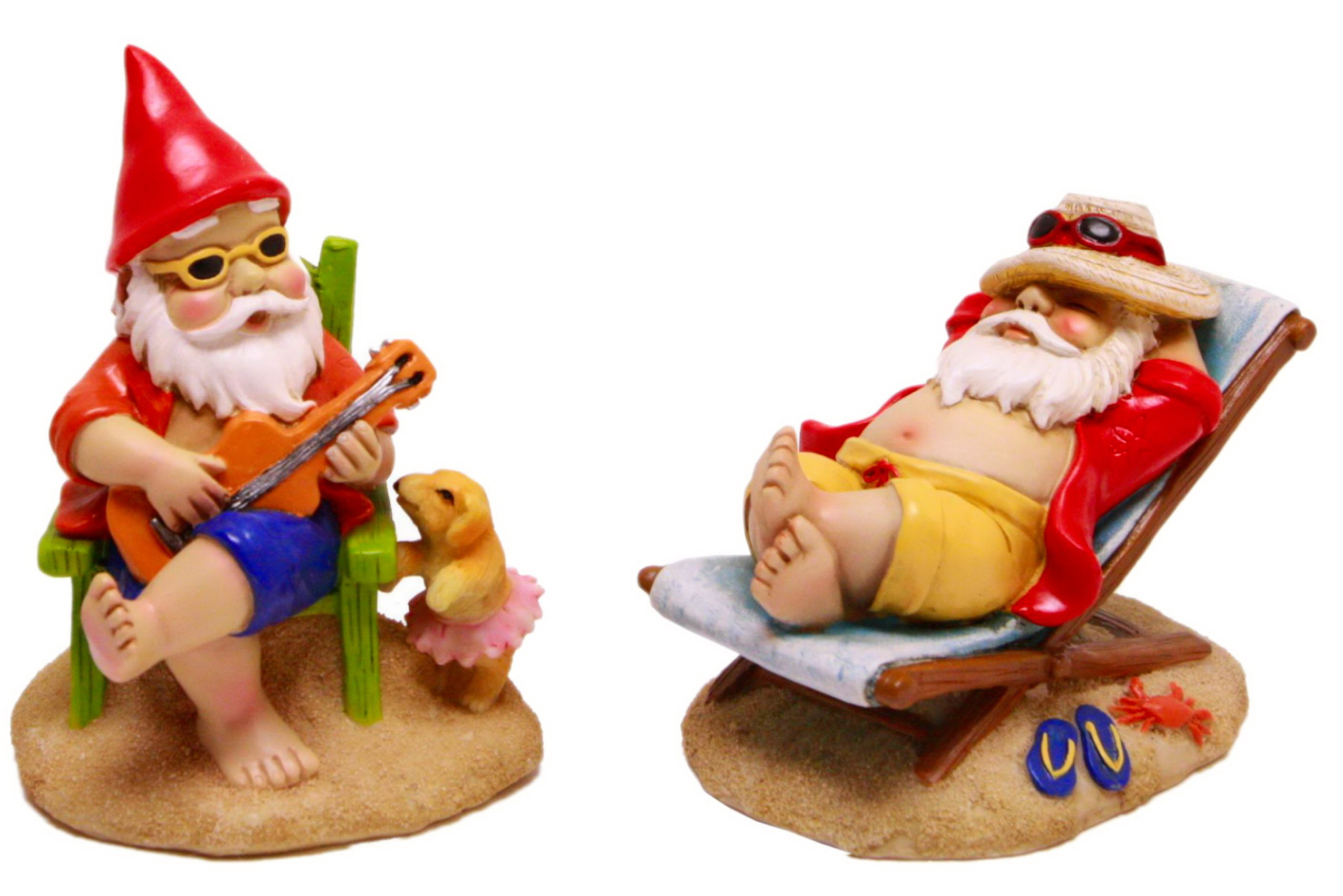 14cm Polyresin Beach Gnome 2 Assorted Designs