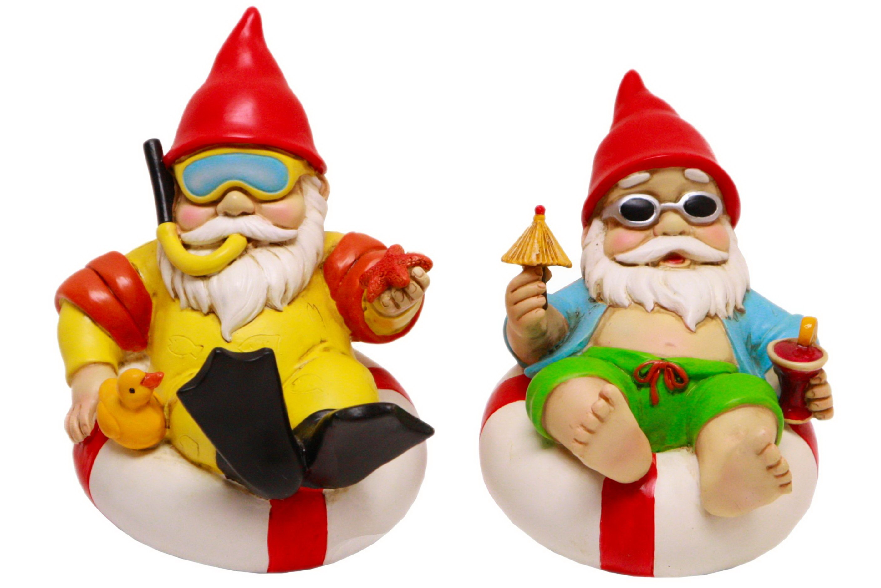 16cm Polyresin Beach Gnome In Ring 2 Assorted Designs