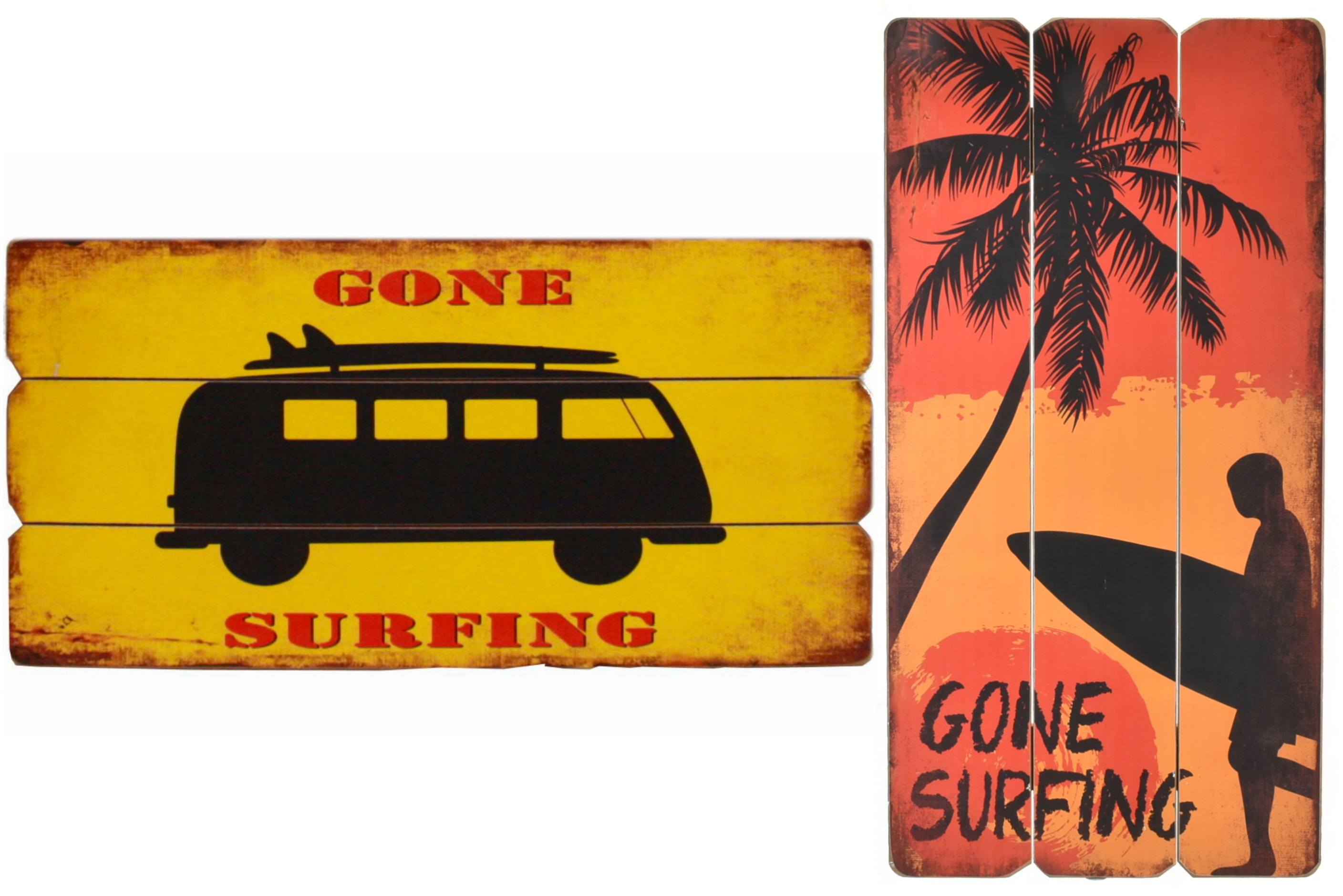 30cm x 60cm Surfing Wooden Signs 2 Assorted