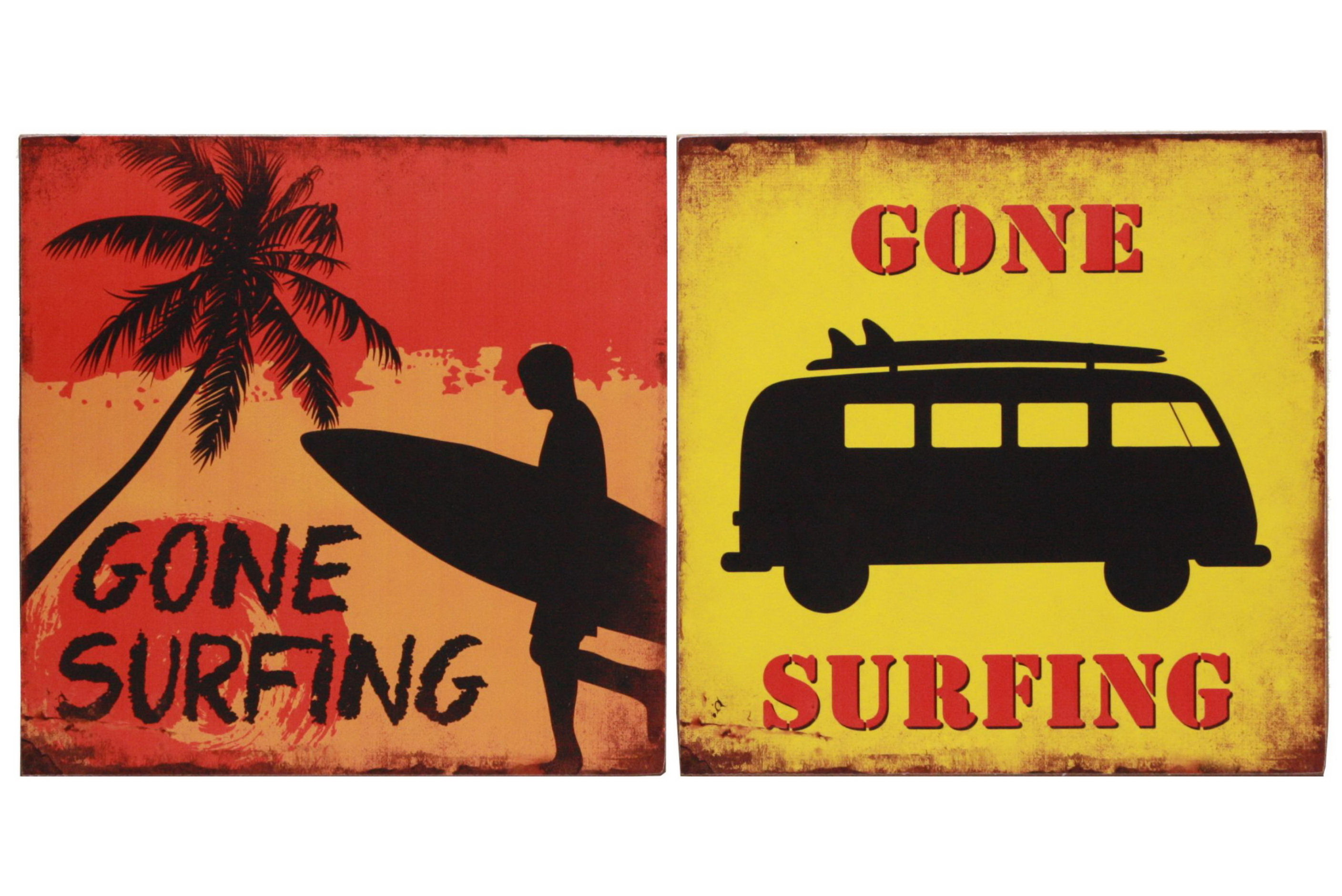 30cm x 30cm Surfing Wooden Signs 2 Assorted
