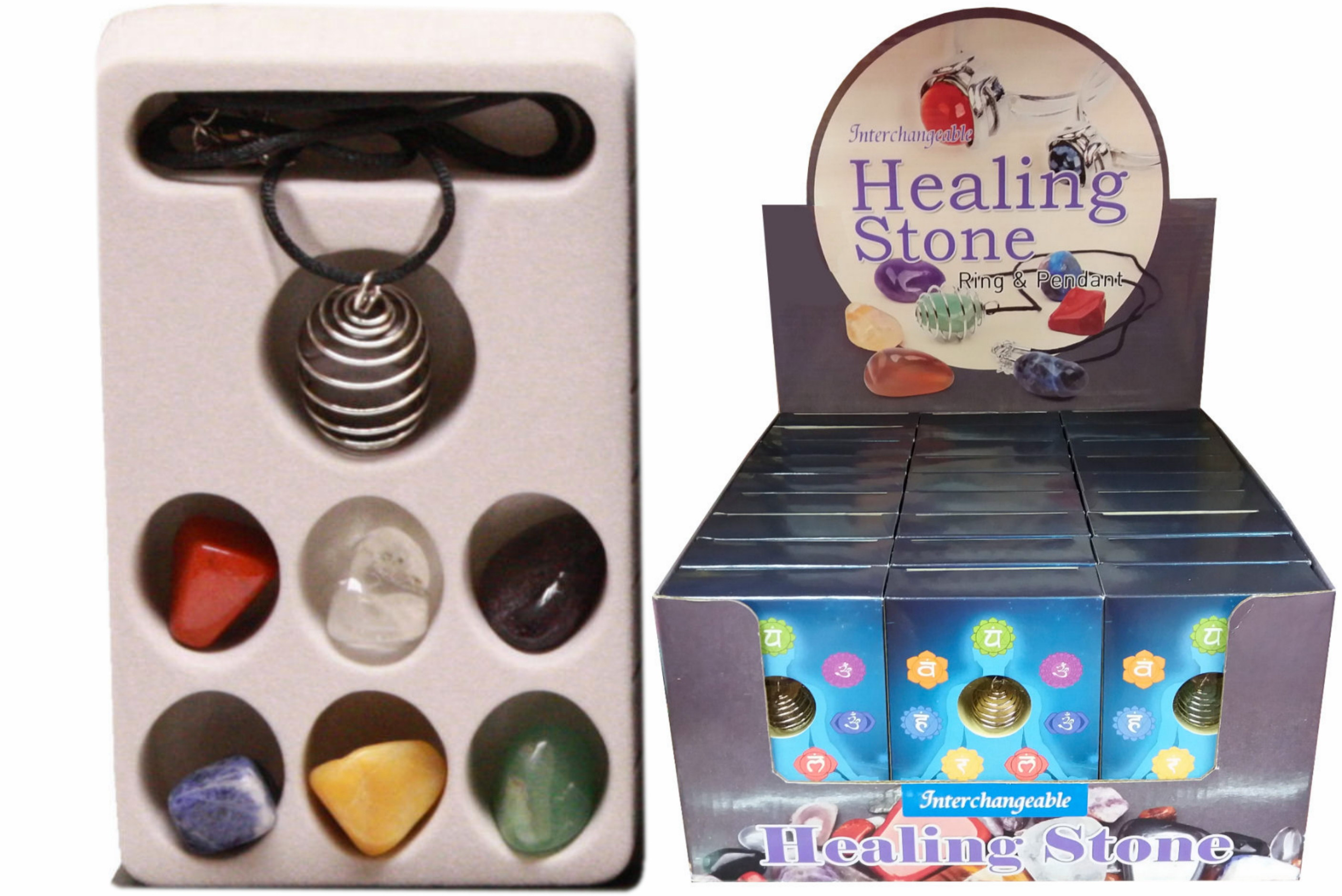 Chakra Stones With Pendant In Colour Box / Display Box