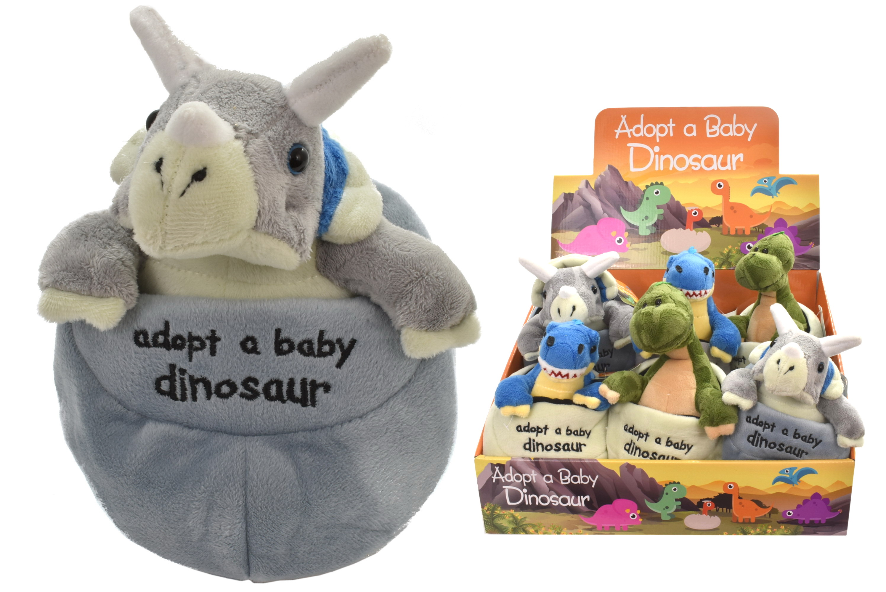 Plush Baby Dinosaur In Egg 3 Assorted In Display Box