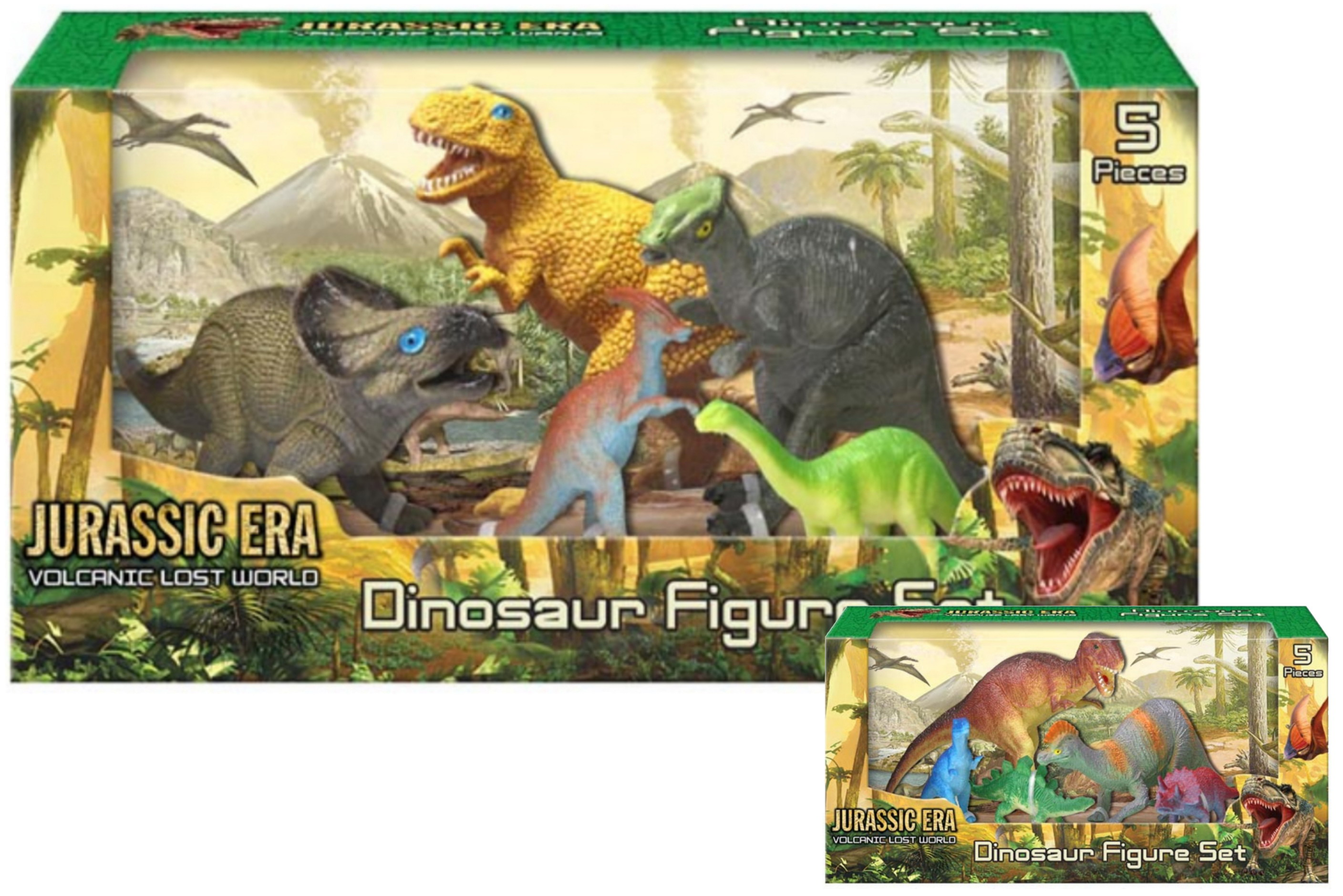 "5pc Dinosaur Figures Set (2 Asst) ""Jurassic Era"" In Wbx"