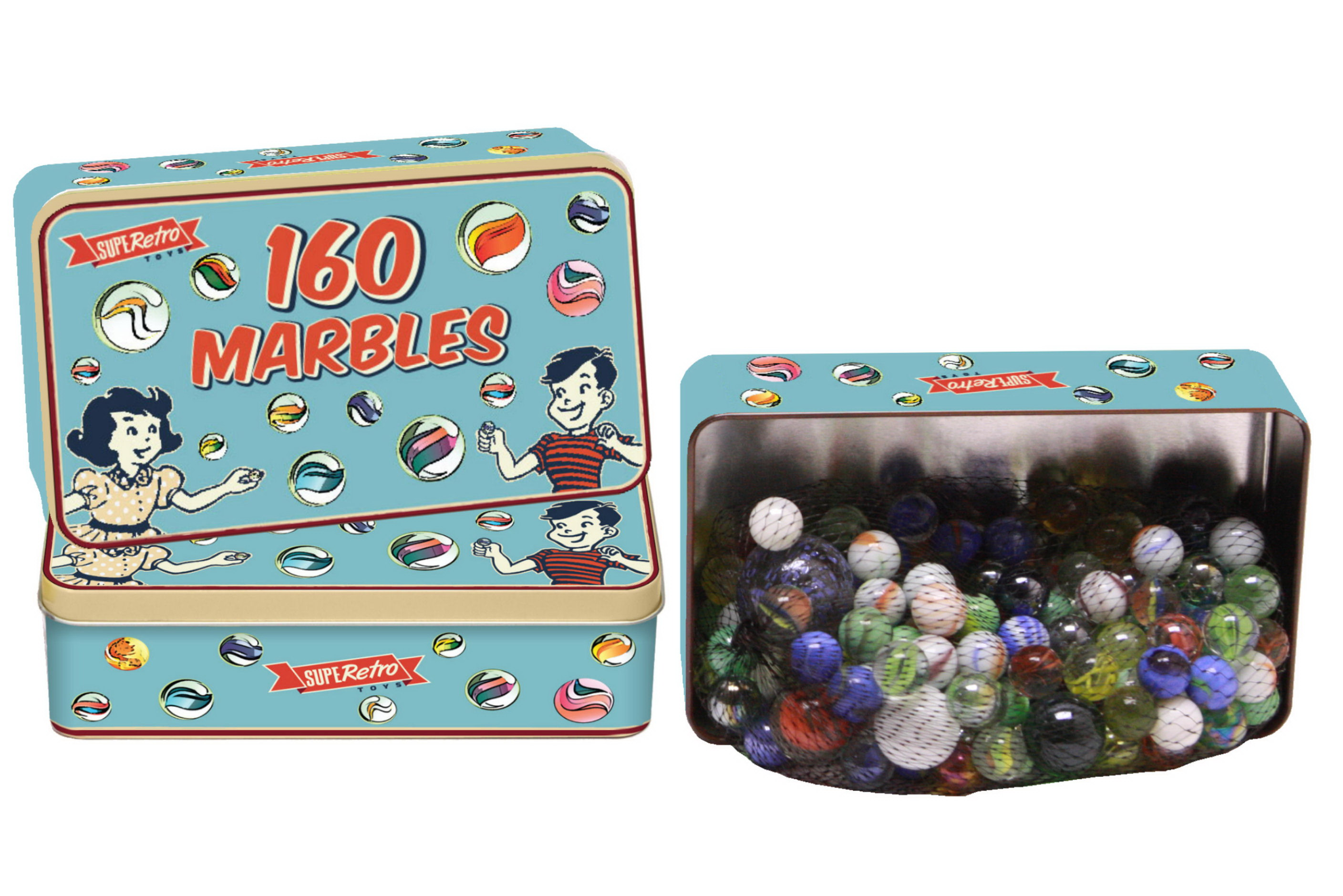 "160pc Tin Of Marbles ""Retro"""