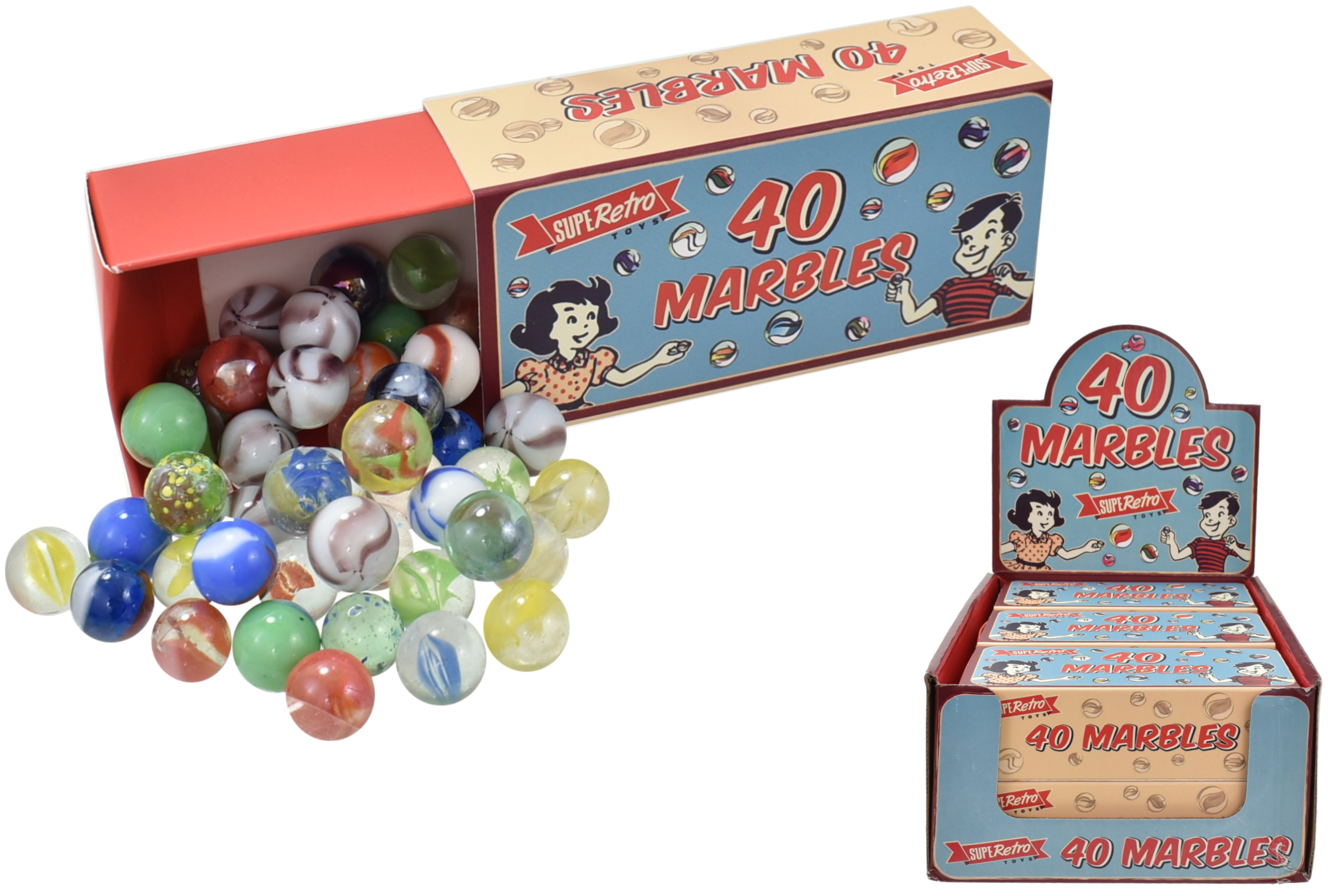 "40 Glass Marbles In Colour Box / Display Box ""Retro"""