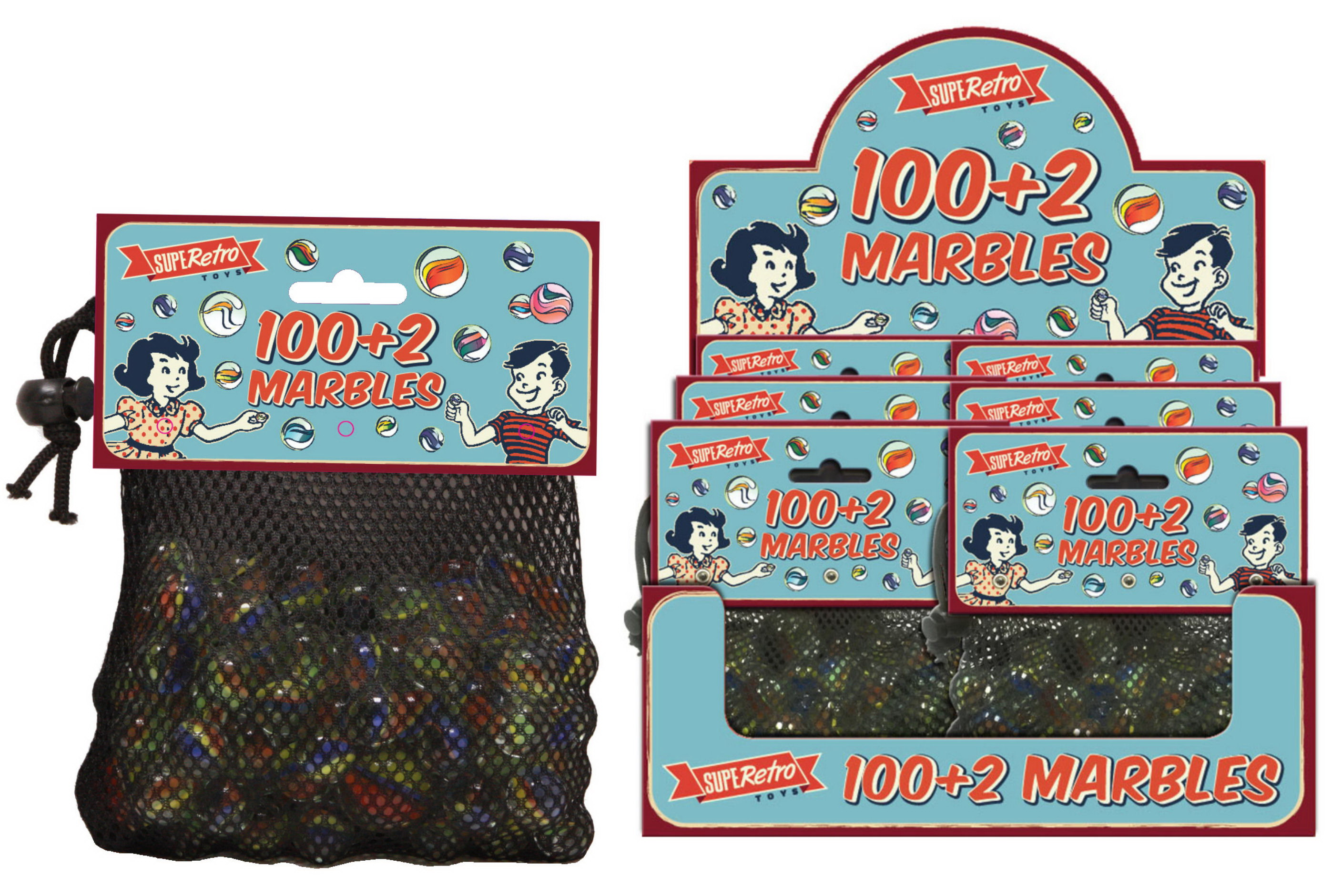 100+2 Marbles In Net Bag Headercard / Display Box