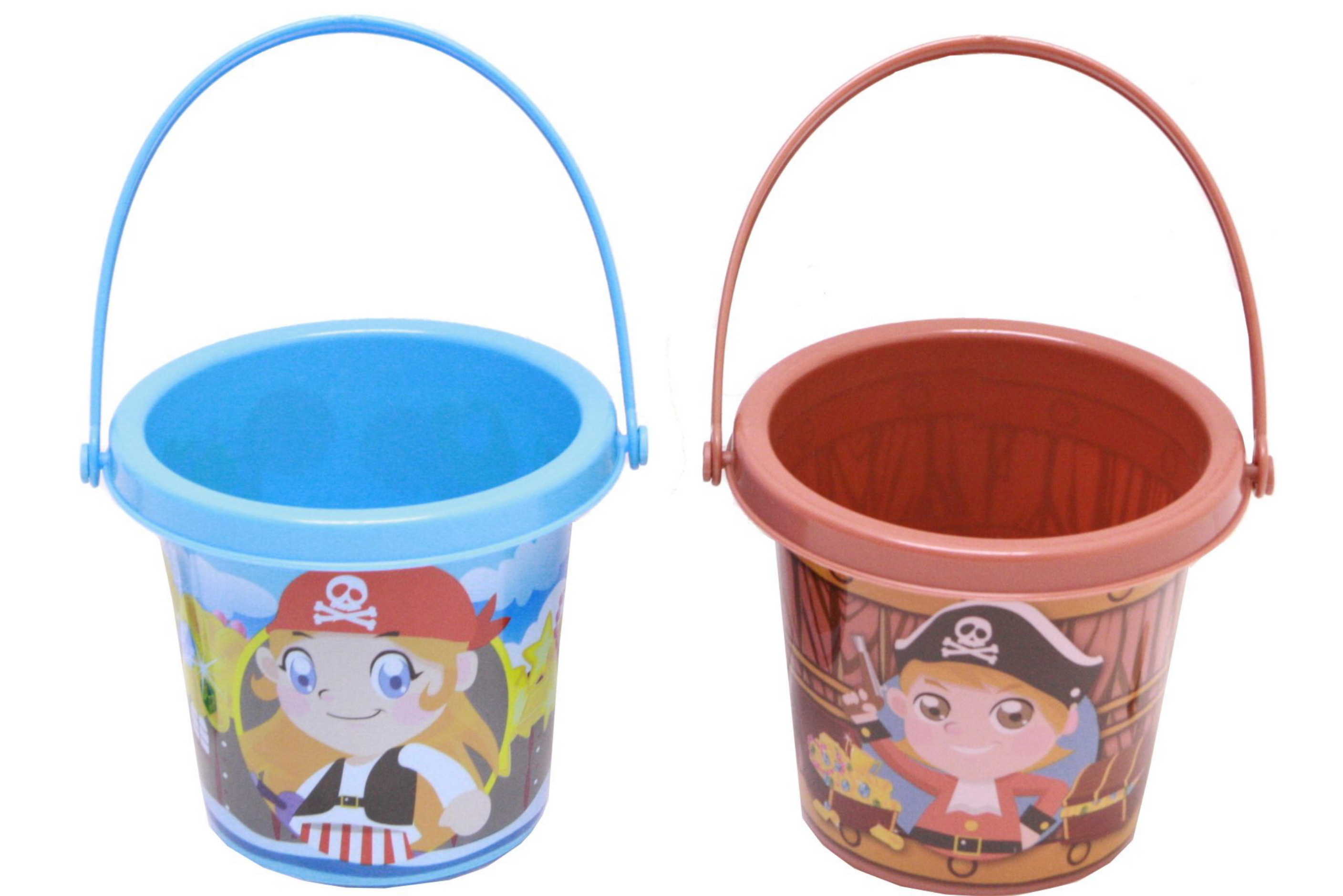 Pirate Print Bucket - 2 Assorted Colours