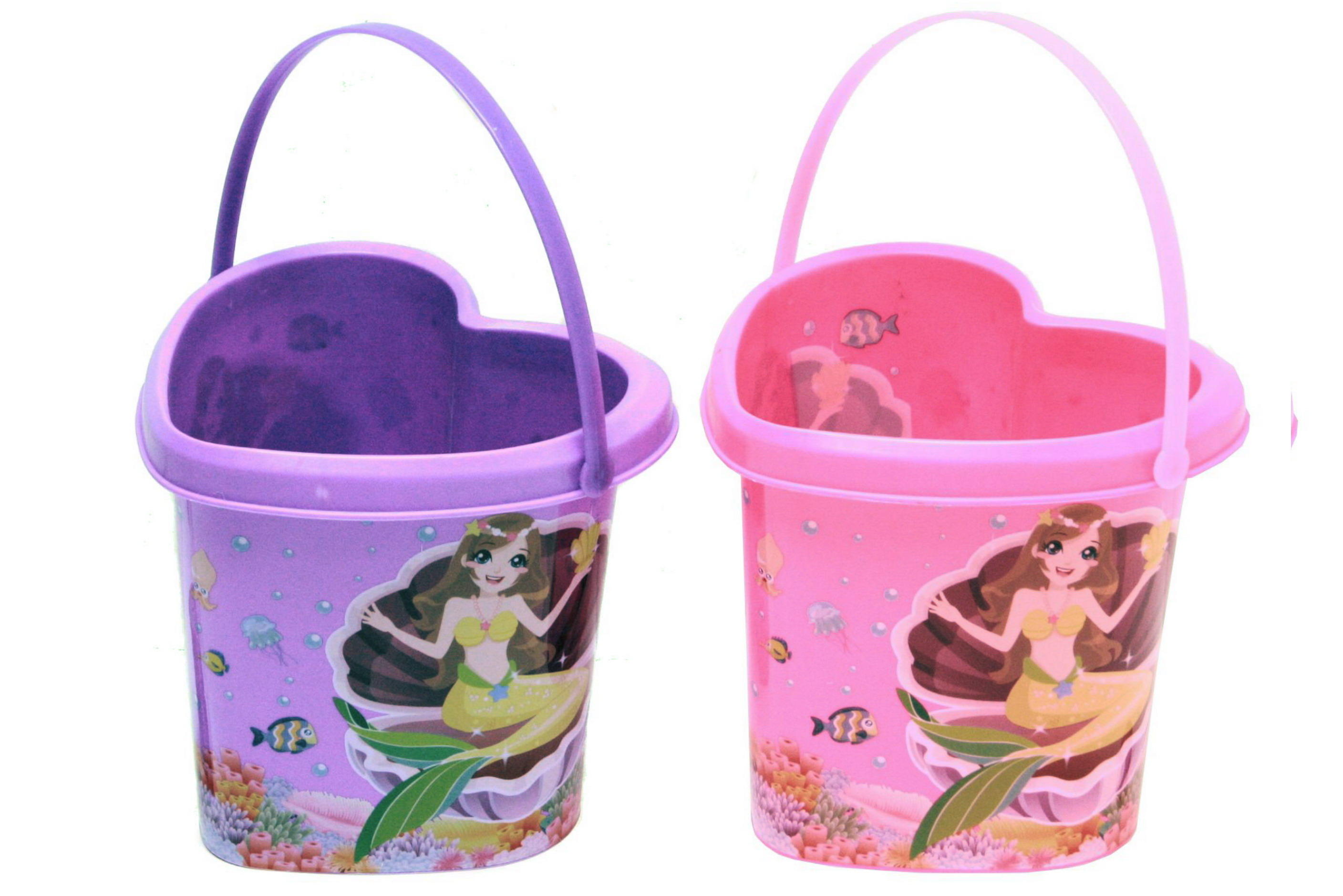 Heart Shaped Bucket With Mermaid Print - 2 Assorted Col