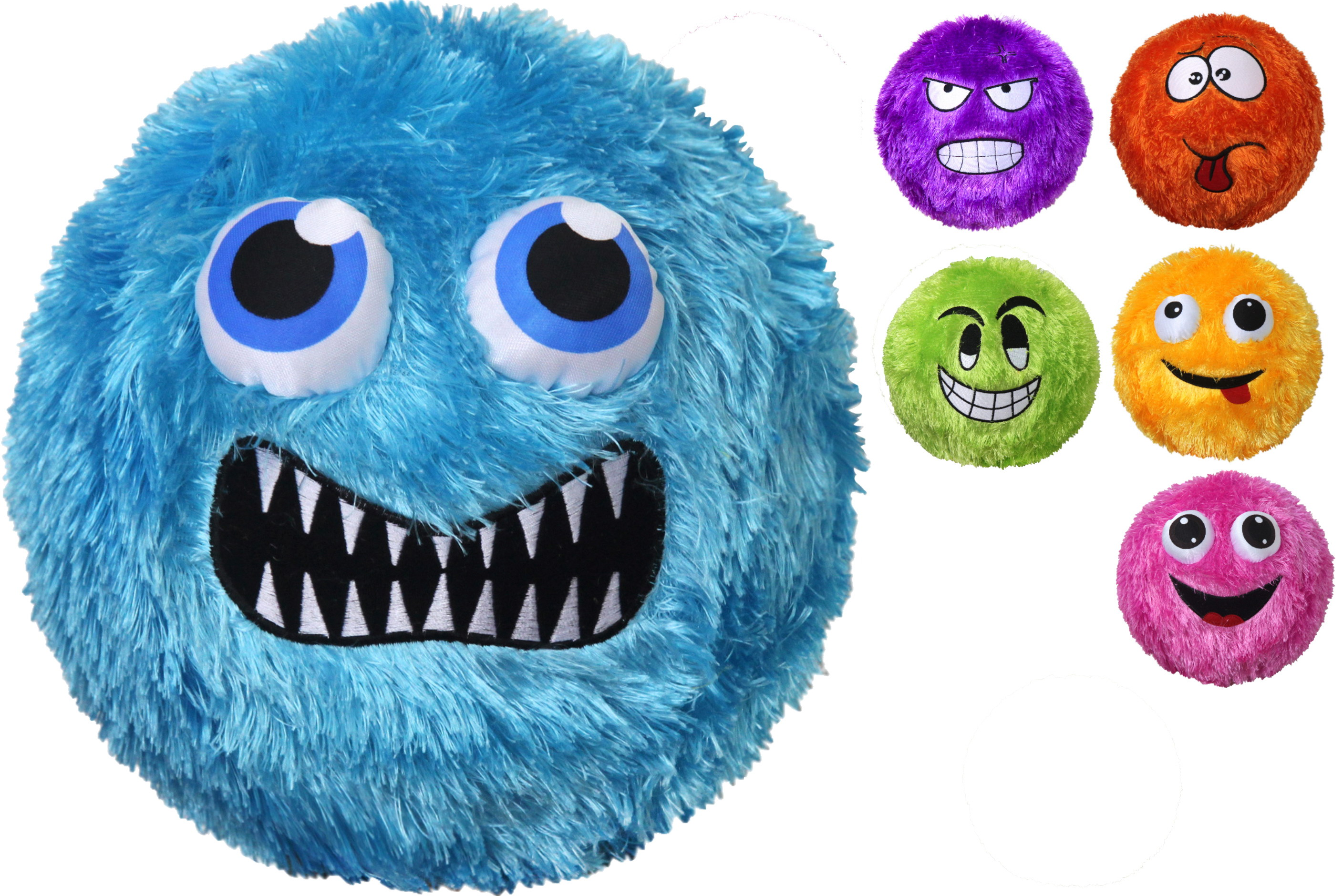 "9"" Fuzzy Face Ball - Deflated (6 Assorted) In Net Bag"