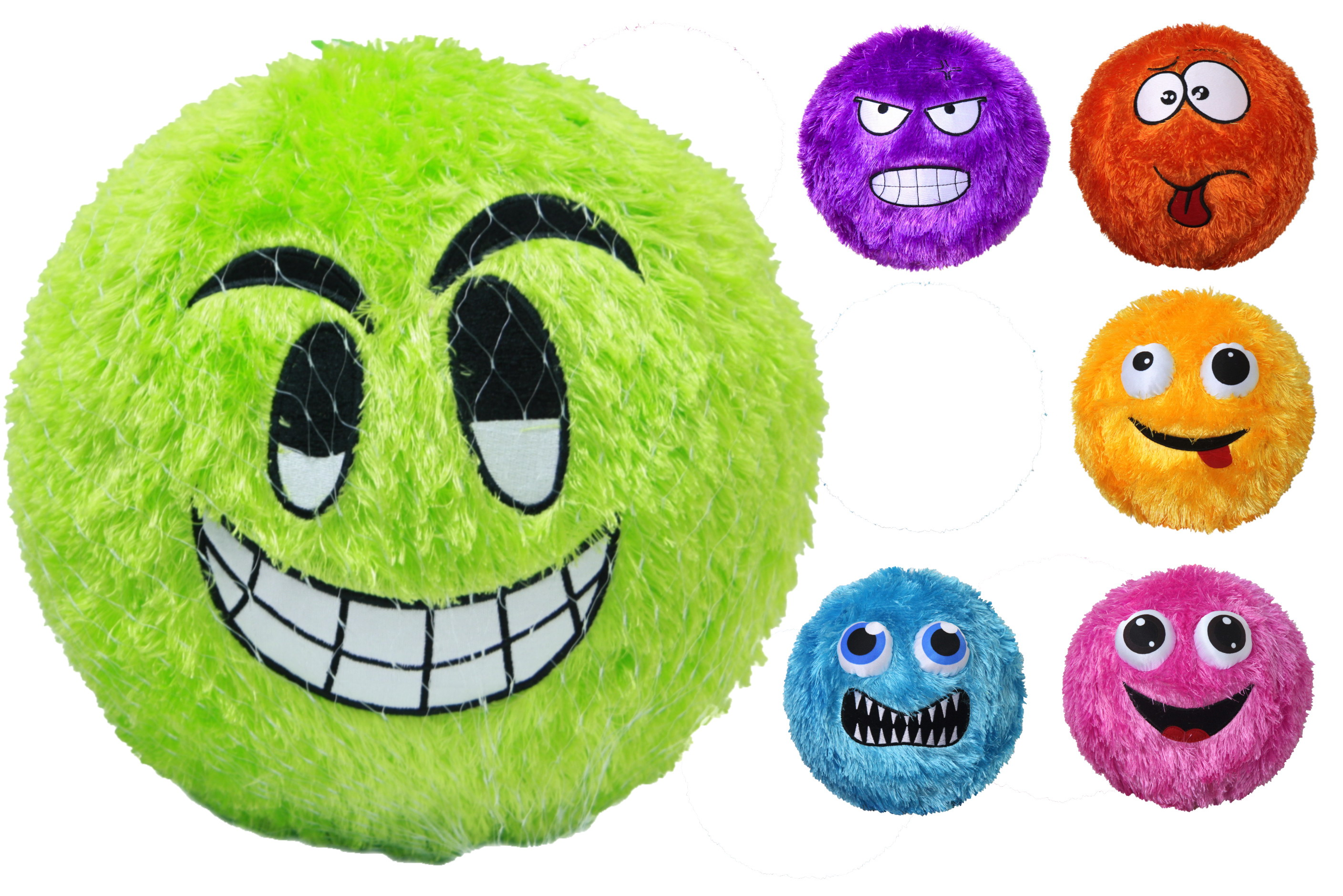 "12"" Fuzzy Face Ball - Deflated (6 Assorted) In Net Bag"