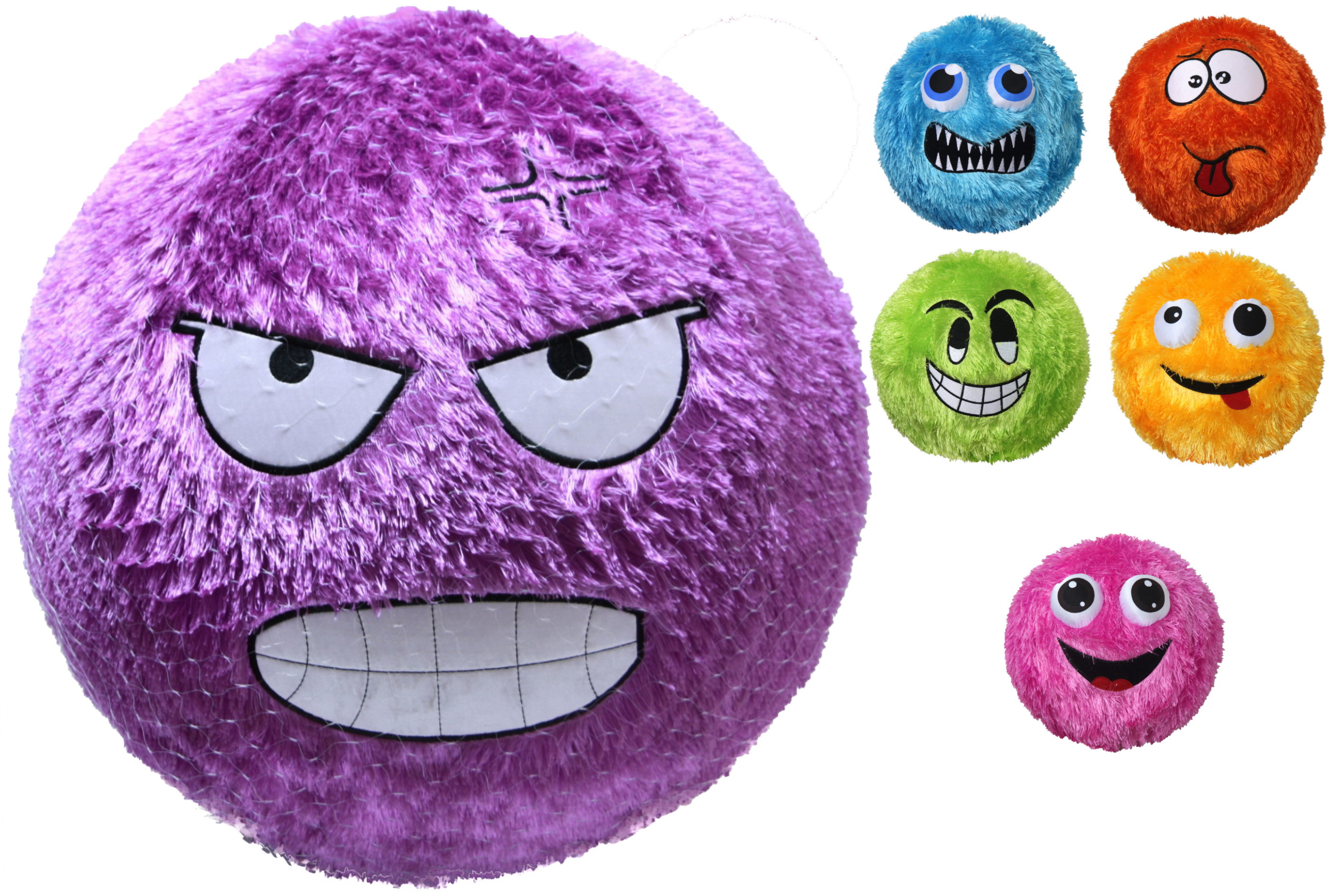 "20"" Fuzzy Face Ball - Deflated (6 Assorted) In Net Bag"