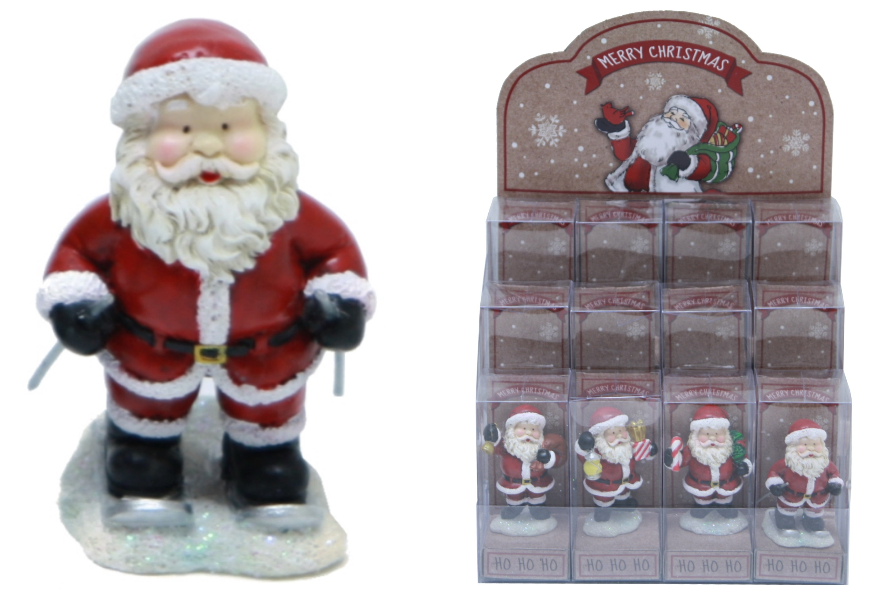 Merry Christmas Santa Figurines (4 Asst) In Display Box