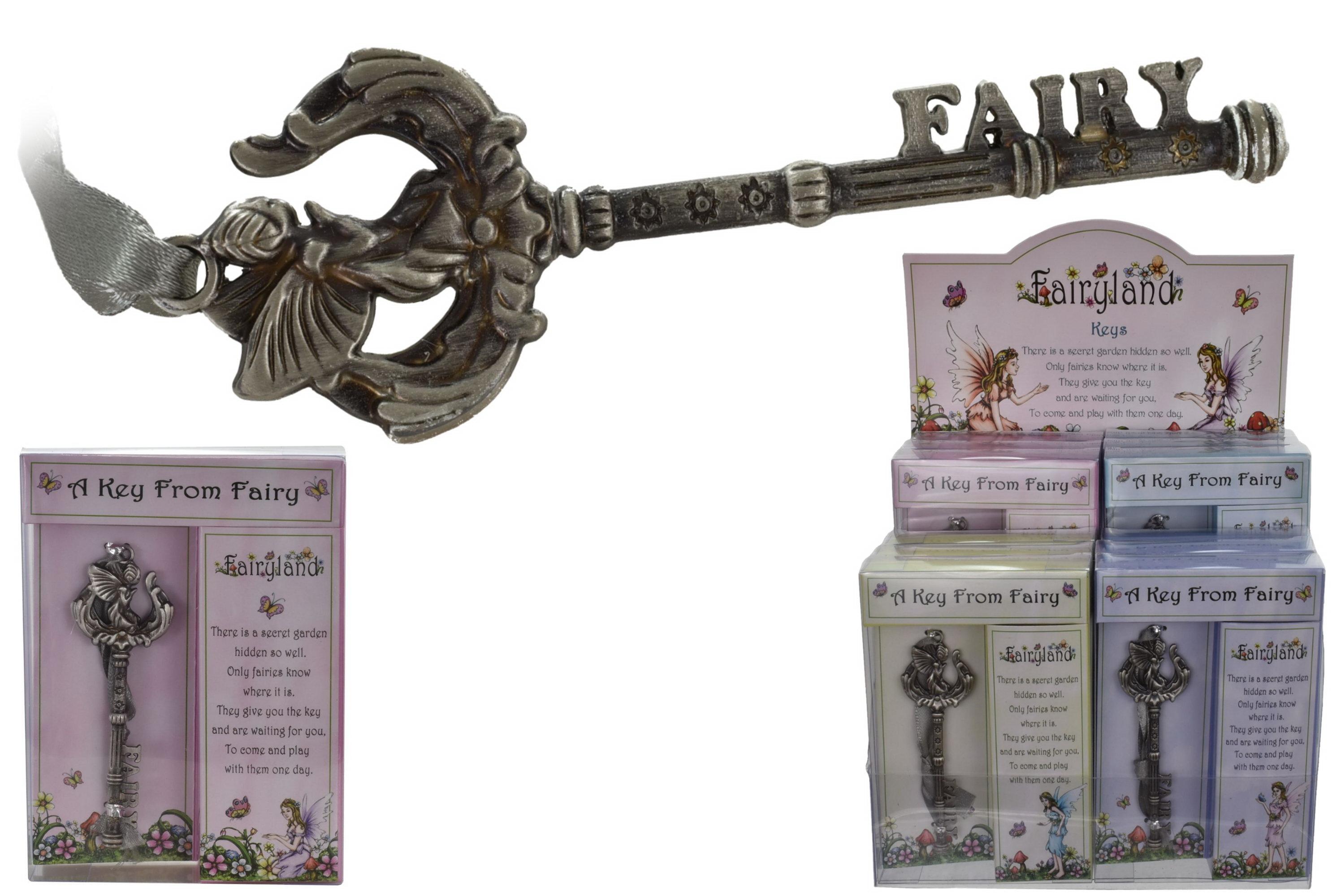 "Metal Key (4 Asst) In Acetate Box / Display ""Fairyland"""