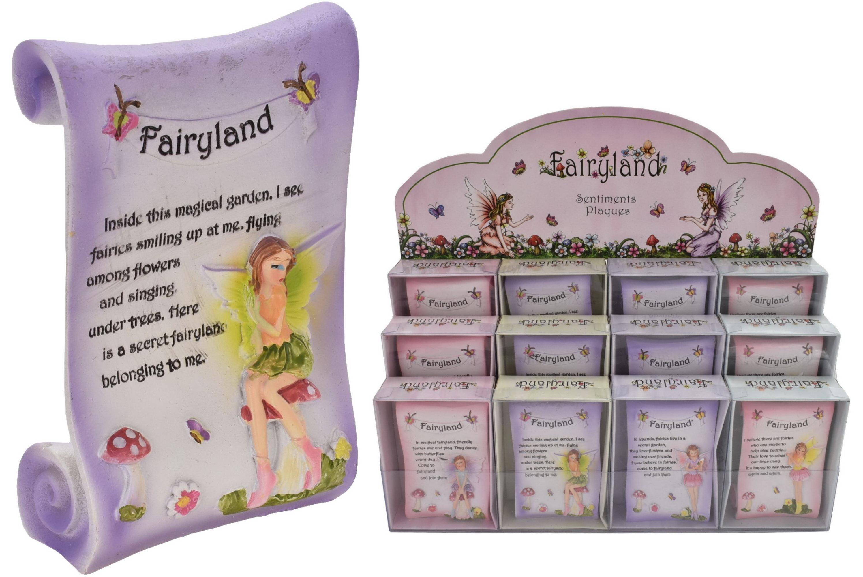 "Sentiments Plaque (4 Asst) In Acetate Box ""Fairyland"""