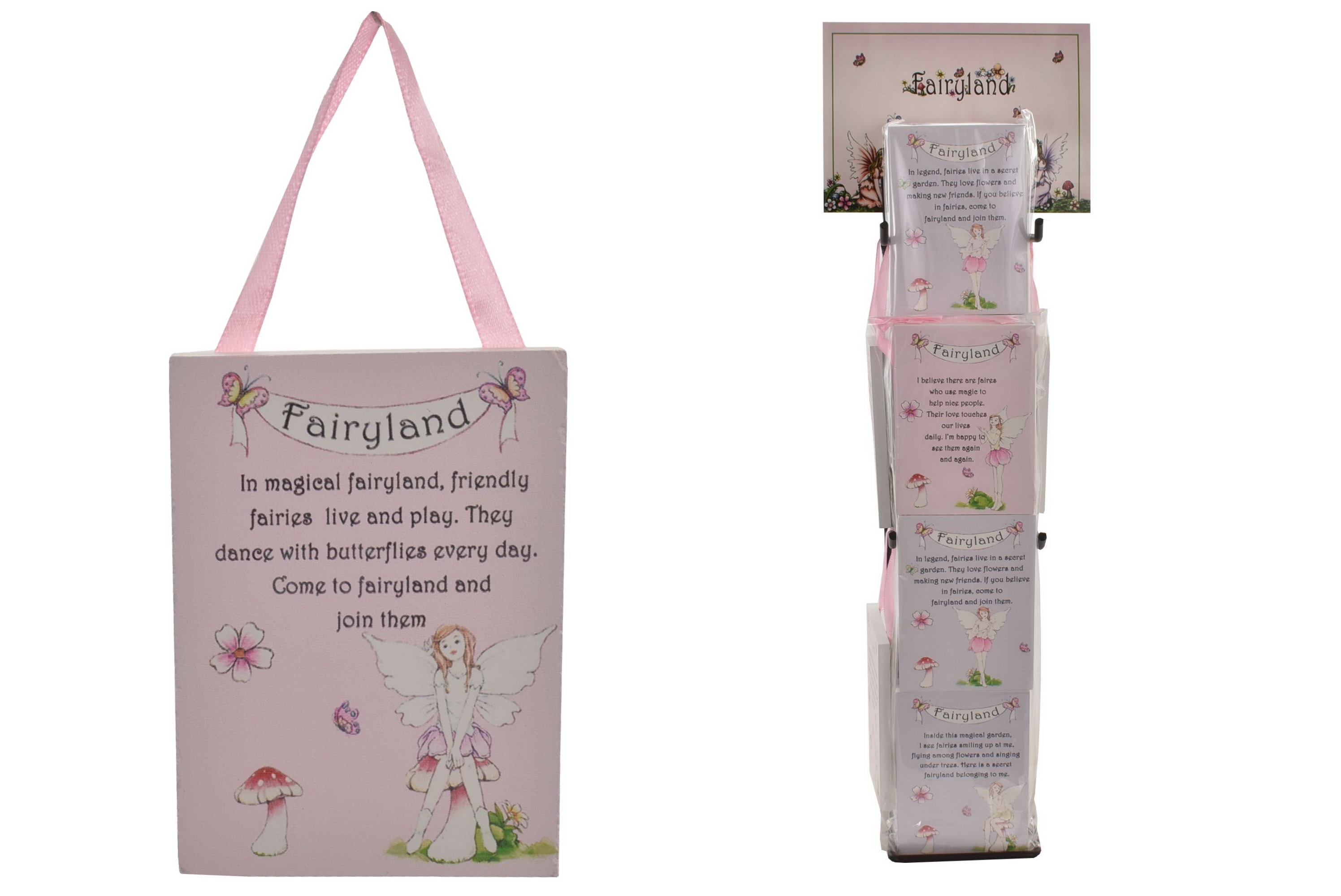 "Fairy Wooden Plaque (4 Asst) On Metal Stand ""Fairyland"""