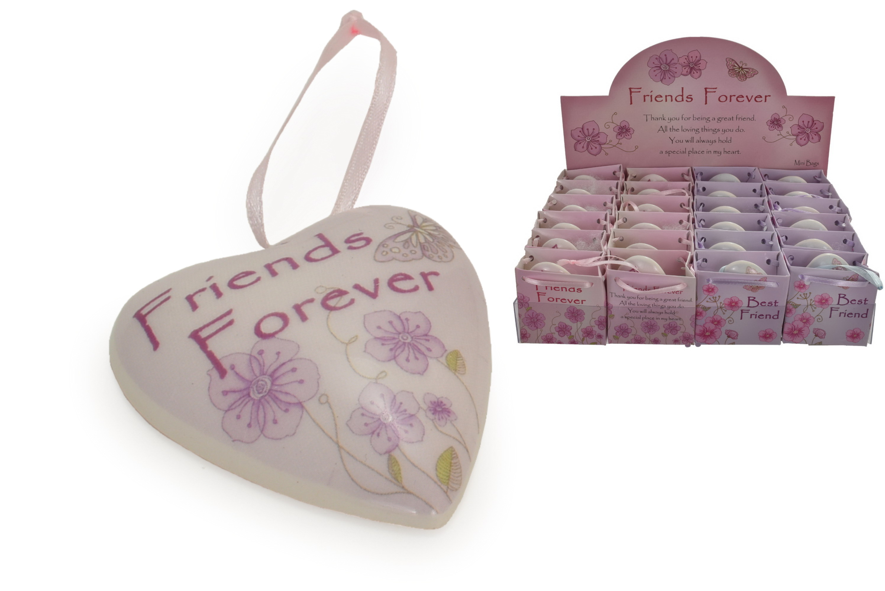Friends Forever Heart In Bag (2 Asst) In Display Box