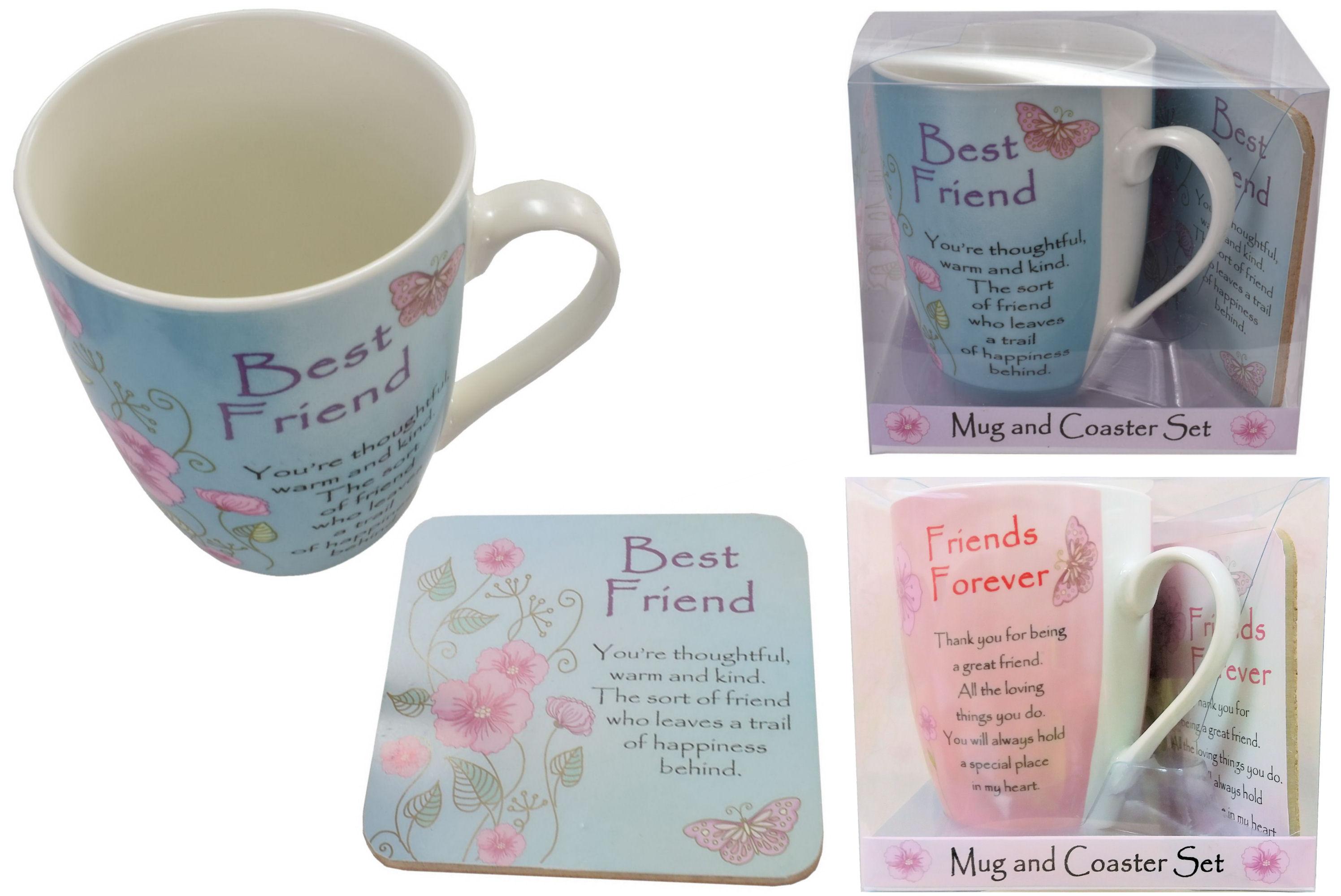 Friends Forever Mug & Coaster Set In Acetate Box 2 Asst