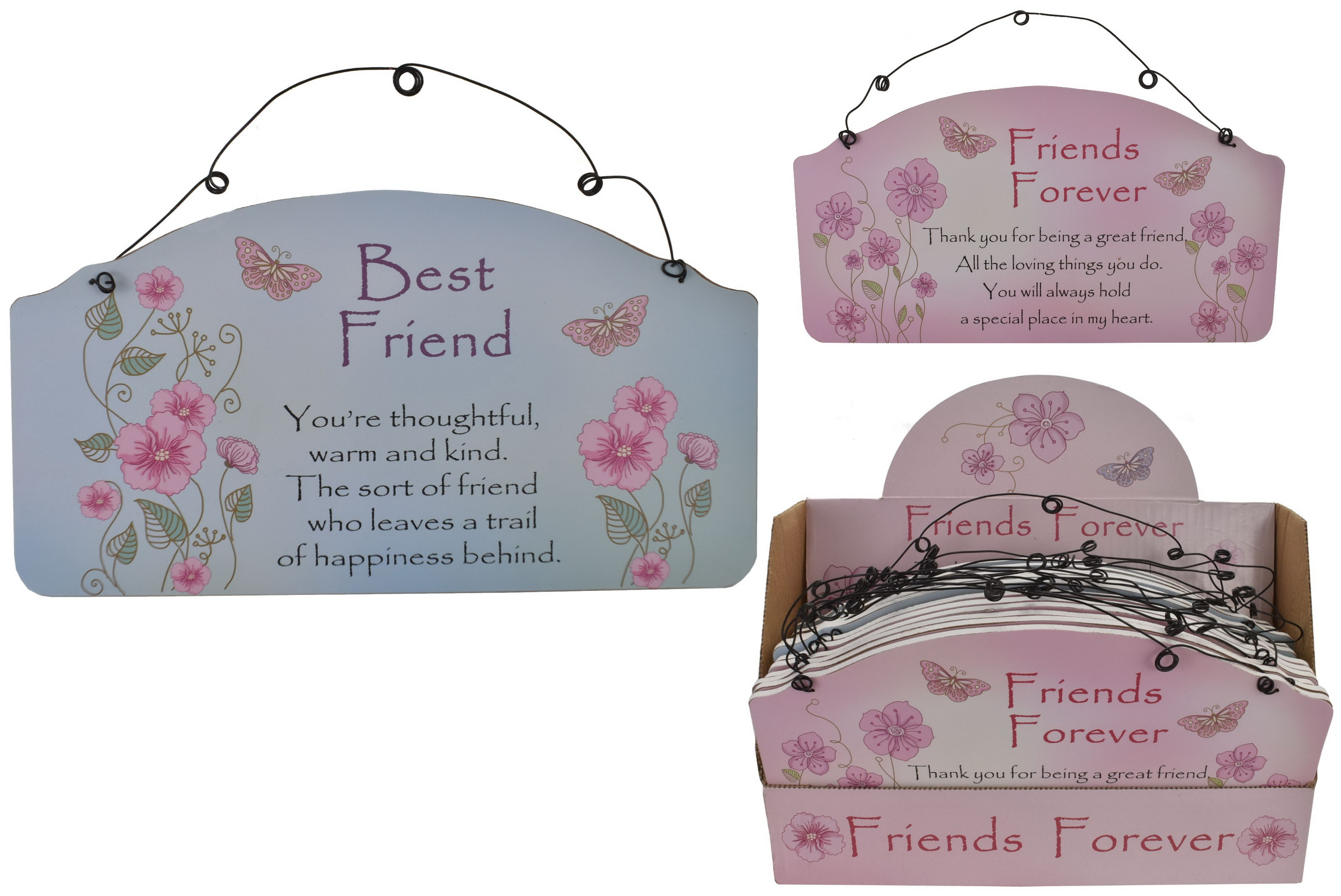 Friends Forever Wooden Plaque (2 Asst) In Display Box